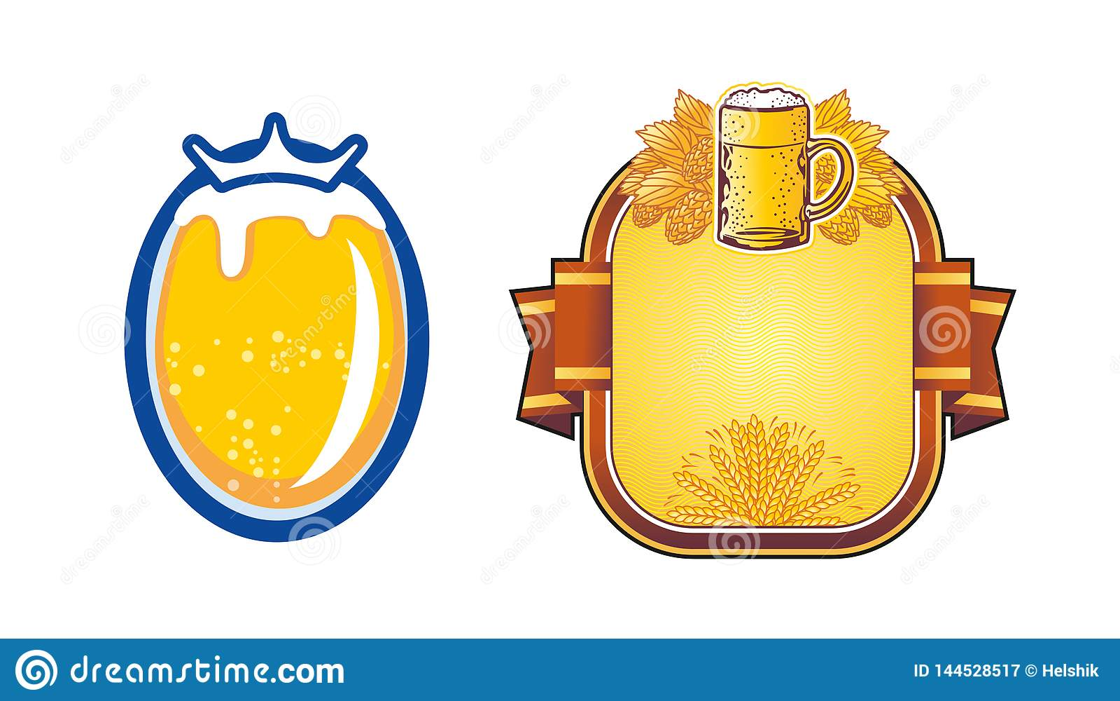 Κούπα μπύρας ασπίδων με τους κλάδους λυκίσκου διάνυσμα