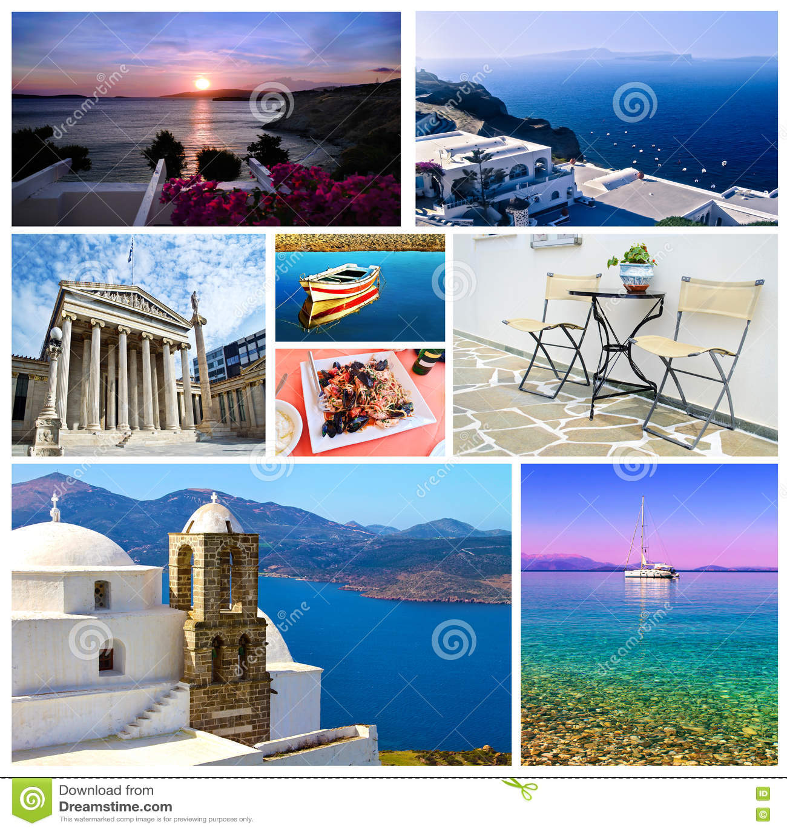 Κολάζ Ελλάδα - ελληνικές θερινές φωτογραφίες