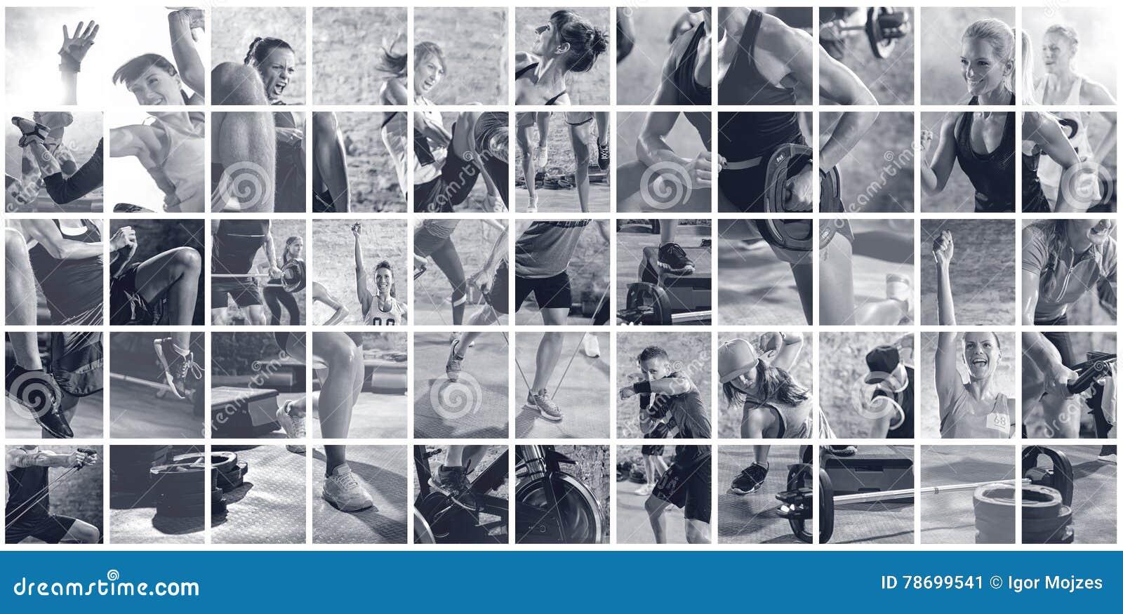 Κολάζ των αθλητικών φωτογραφιών με τους ανθρώπους