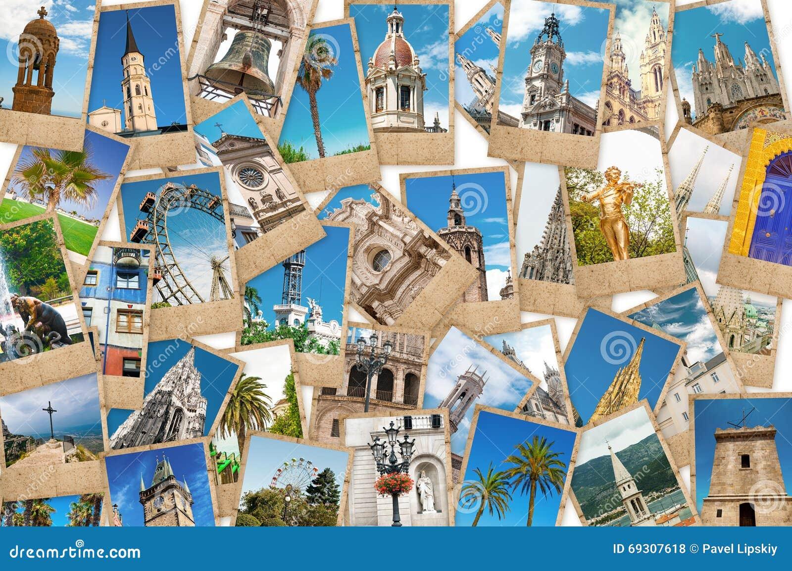 Κολάζ των φωτογραφιών ταξιδιού από τις διαφορετικές πόλεις