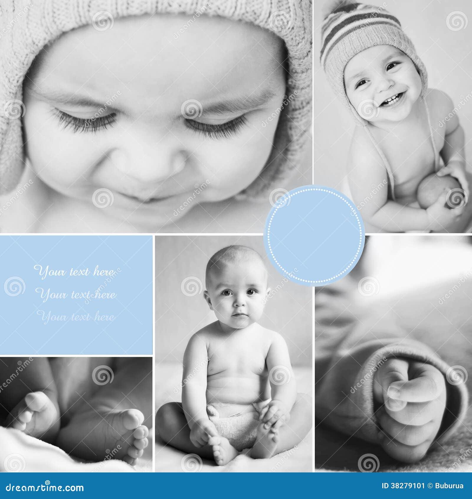 Κολάζ των φωτογραφιών του γραπτού μωρού