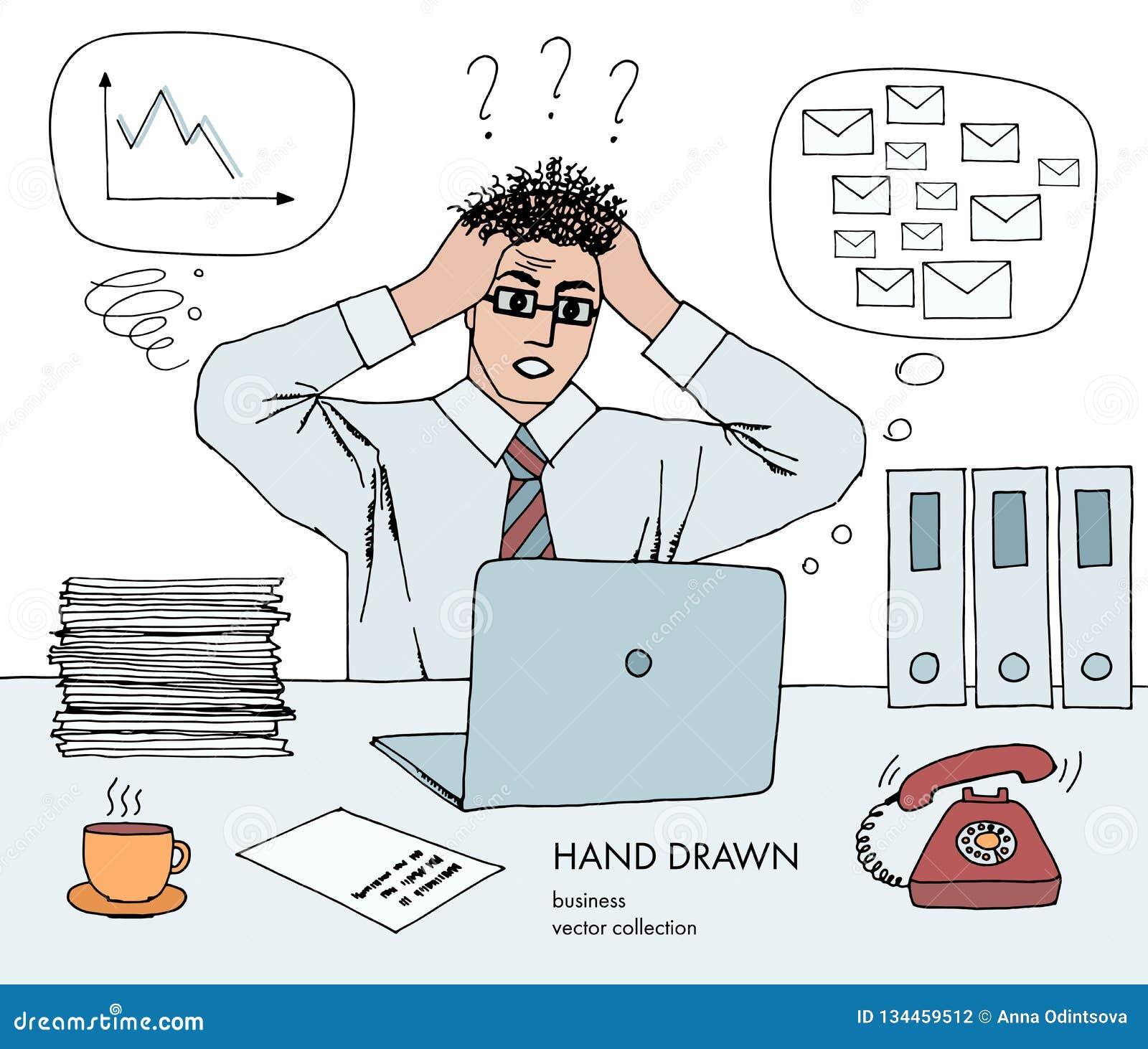 Κρίση εργασίας Ο επιχειρηματίας κρατά το κεφάλι του εξετάζοντας το όργανο ελέγχου στάση τρίχας στο τέλος Πολλά ταχυδρομεία inbox,