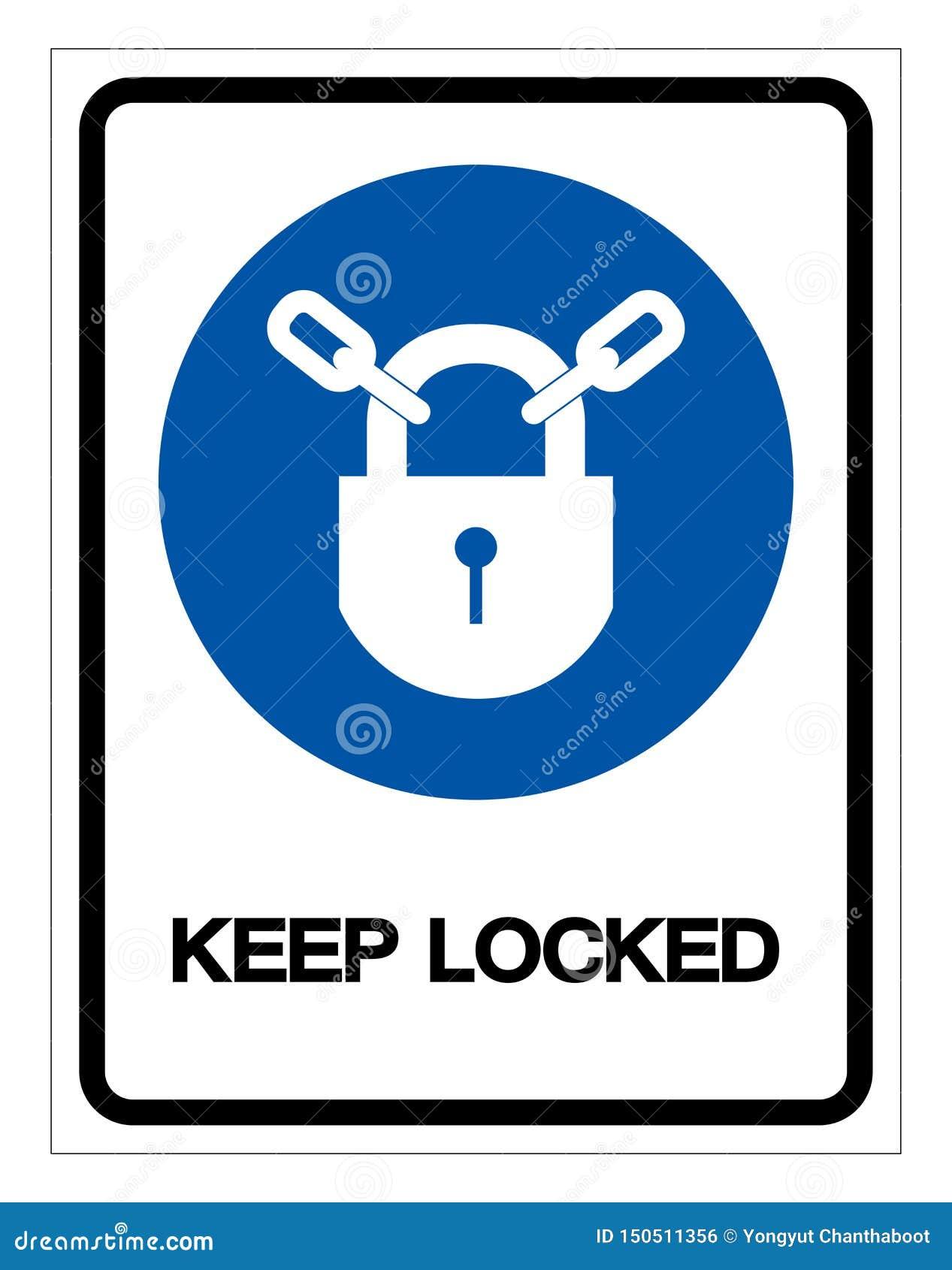 Κρατήστε το κλειδωμένο σημάδι συμβόλων, διανυσματική απεικόνιση, απομονώστε στην άσπρη ετικέτα υποβάθρου EPS10