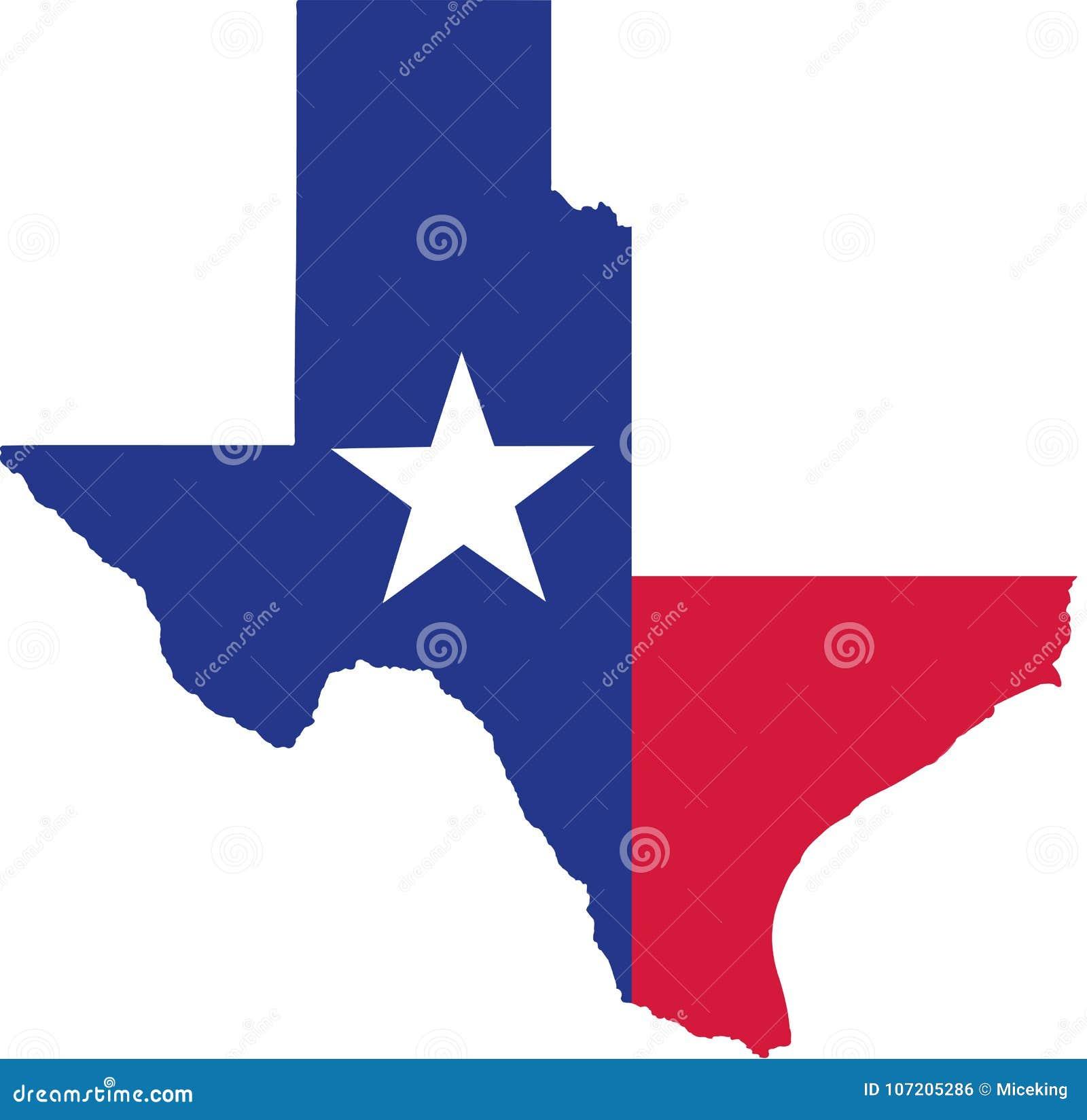 Κρατικός χάρτης του Τέξας με τη σημαία
