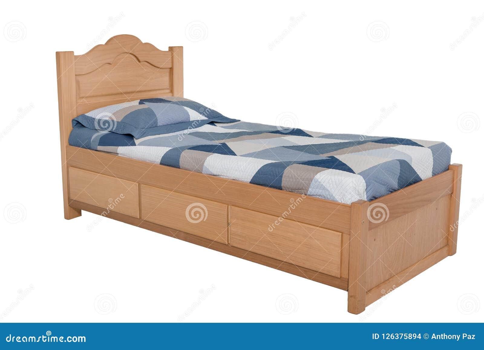 Κρεβάτι που απομονώνεται ξύλινο στο λευκό