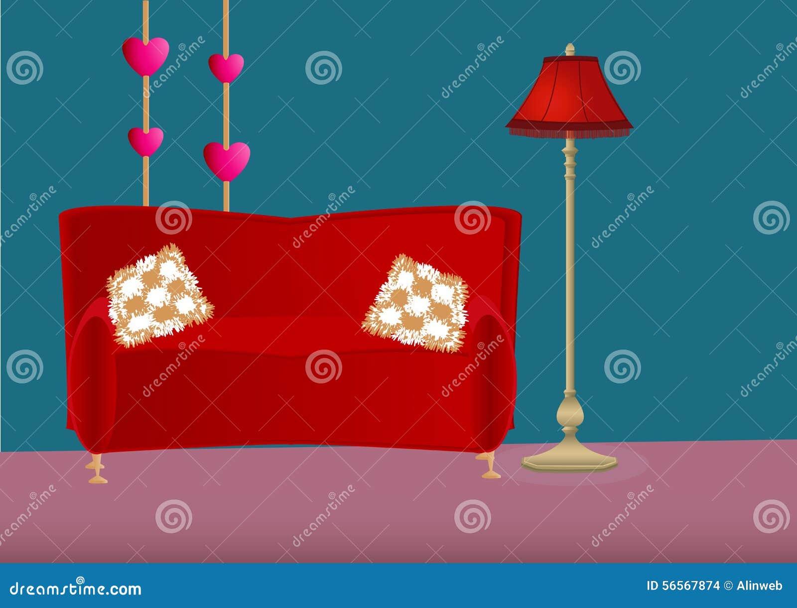 Download Κρεβατοκάμαρα κινούμενων σχεδίων με τον καναπέ, τα μαξιλάρια και το λαμπτήρα πατωμάτων Διανυσματική απεικόνιση - εικονογραφία από bedroll, βακκινίων: 56567874