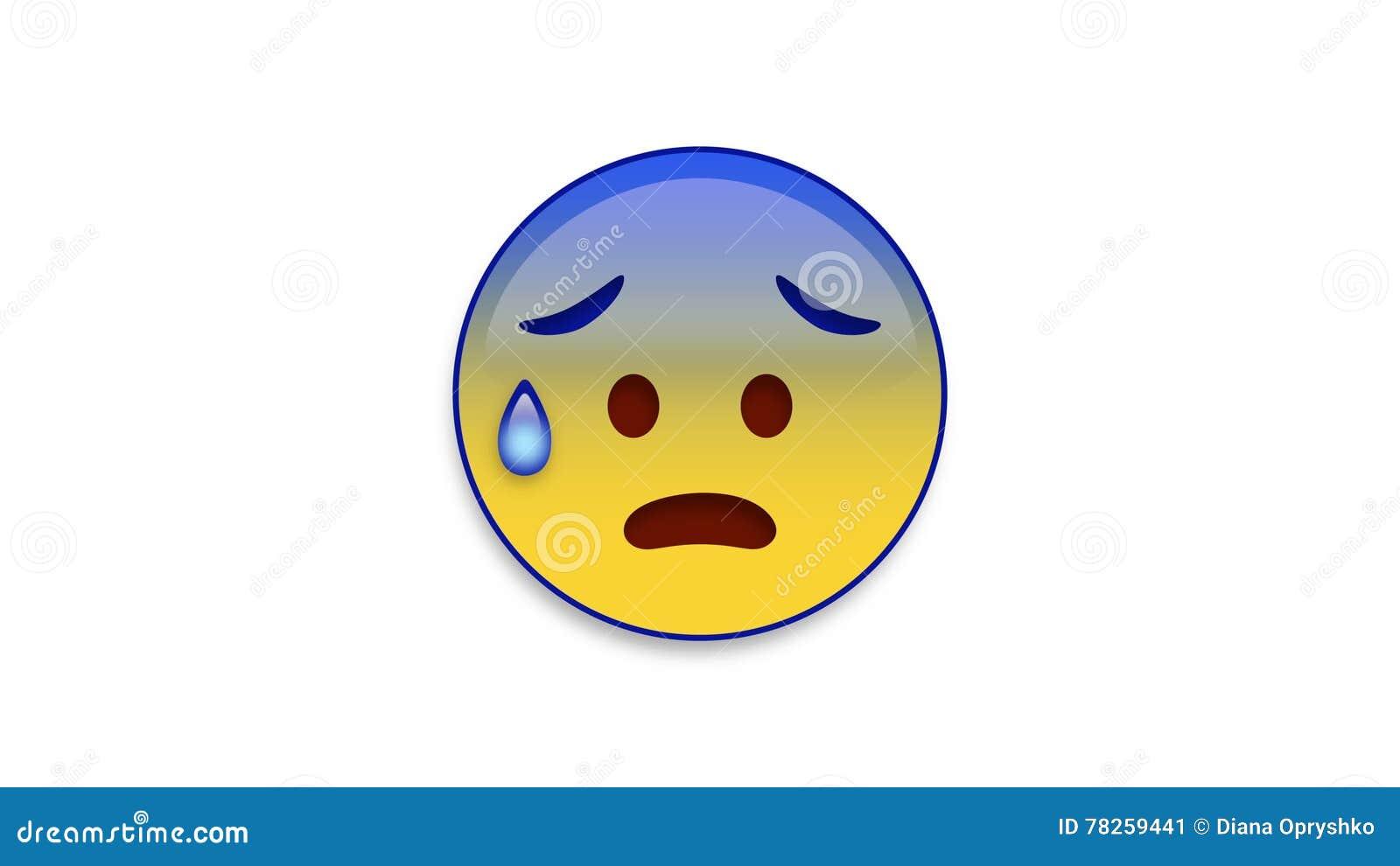 Κρύος ιδρώτας Emoji με τη μεταλλίνη Luma