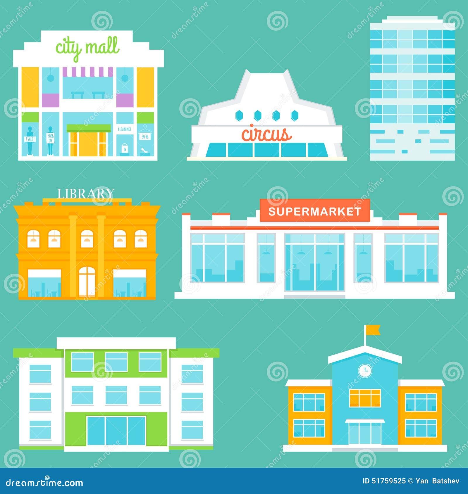 Κτήρια πόλεων καθορισμένα Λεωφόρος αγορών, τσίρκο, κτίριο γραφείων, βιβλιοθήκη, υπεραγορά, σχολείο