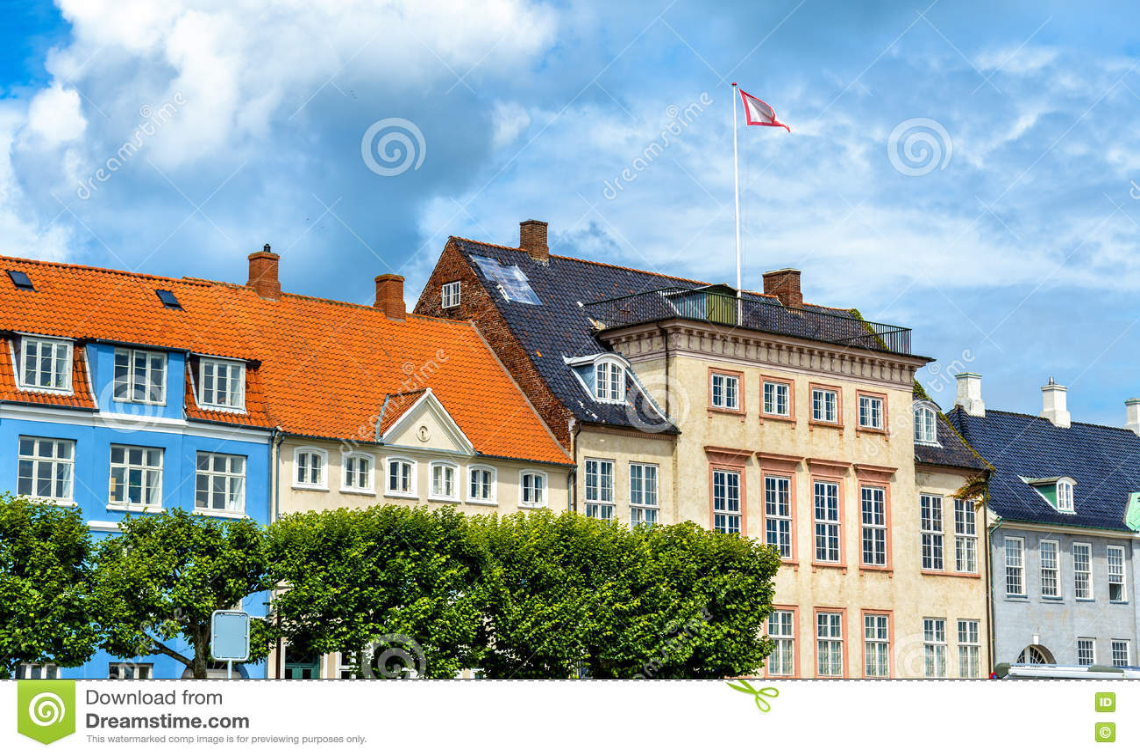 Κτήρια στην παλαιά πόλη Helsingor - της Δανίας