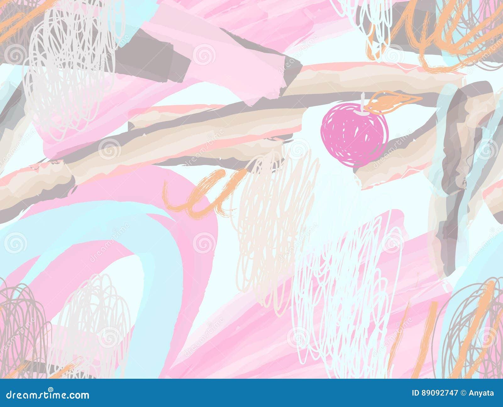 Κτυπήματα βουρτσών Watercolor με τις κακογραφίες doodles και τα μήλα