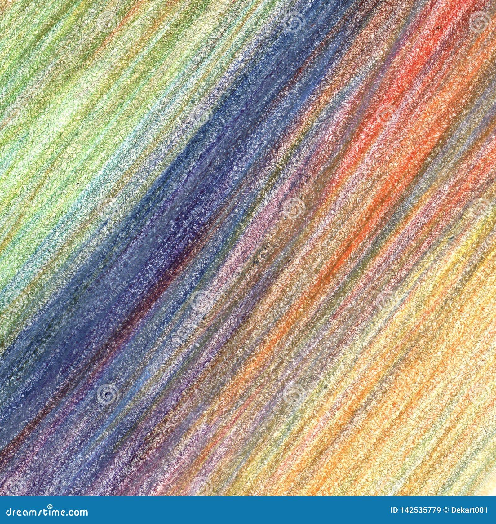 Κτυπήματα κραγιονιών μολυβιών χρώματος, συρμένο χέρι στοιχείο