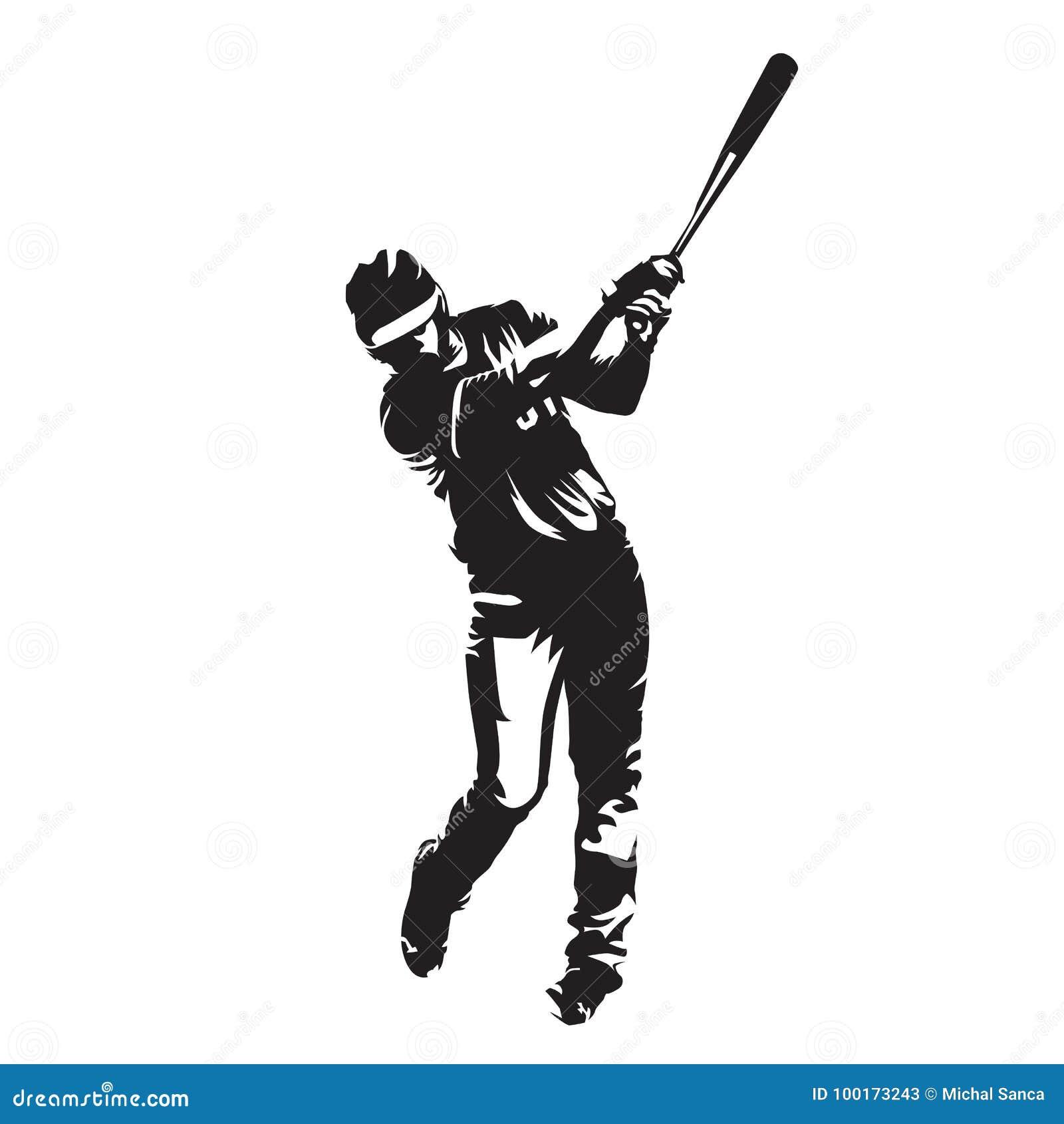 Κτύπημα παιχτών του μπέιζμπολ, διανυσματική σκιαγραφία