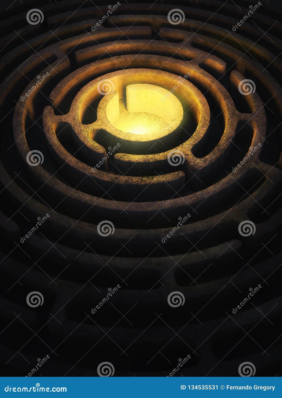 Κυκλικός λαβύρινθος με ένα φωτεινό φως στο κέντρο