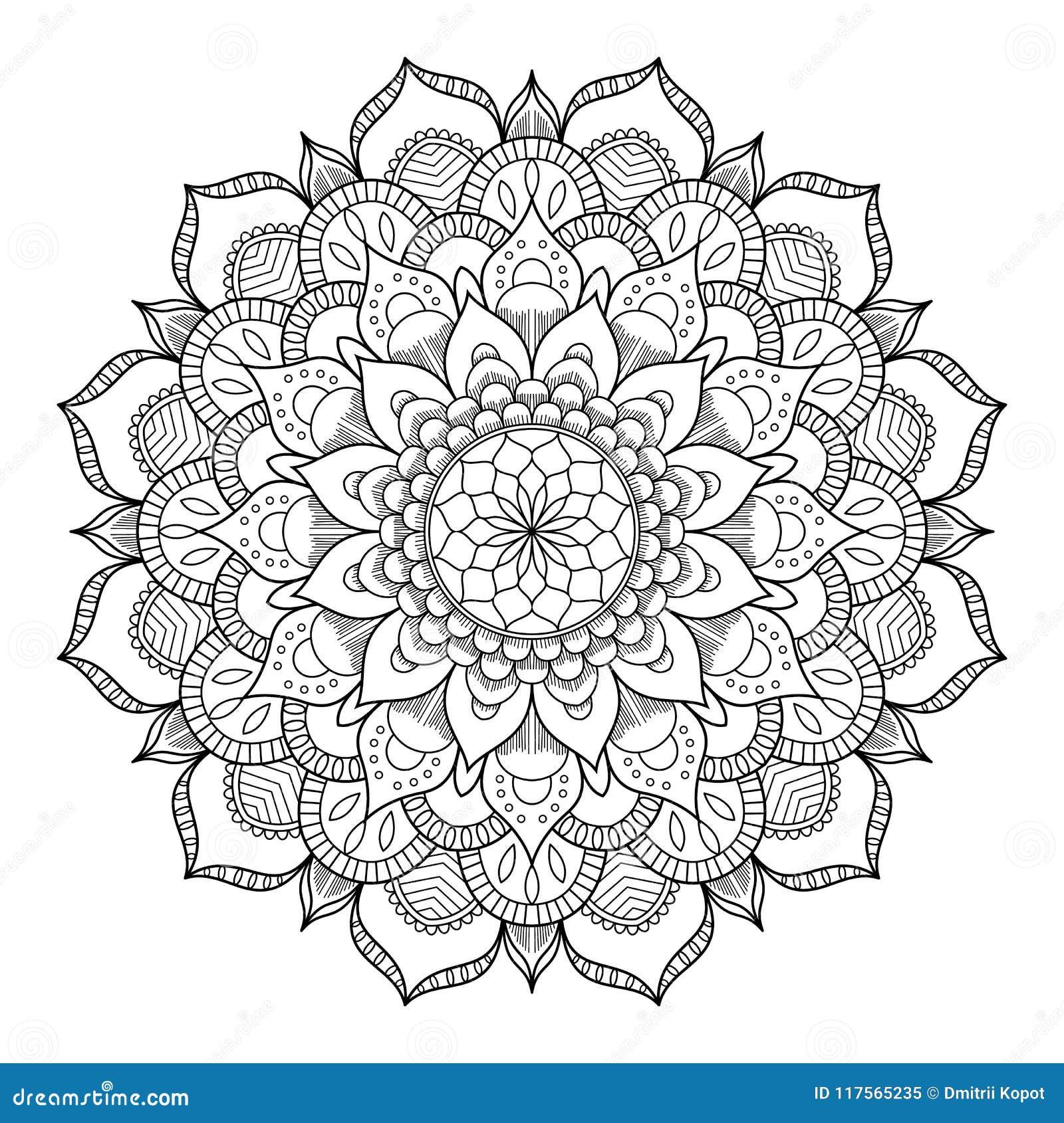 Κυκλικό σχέδιο με μορφή mandala για Henna, Mehndi, δερματοστιξία, διακόσμηση Διακοσμητική διακόσμηση στο εθνικό ασιατικό ύφος