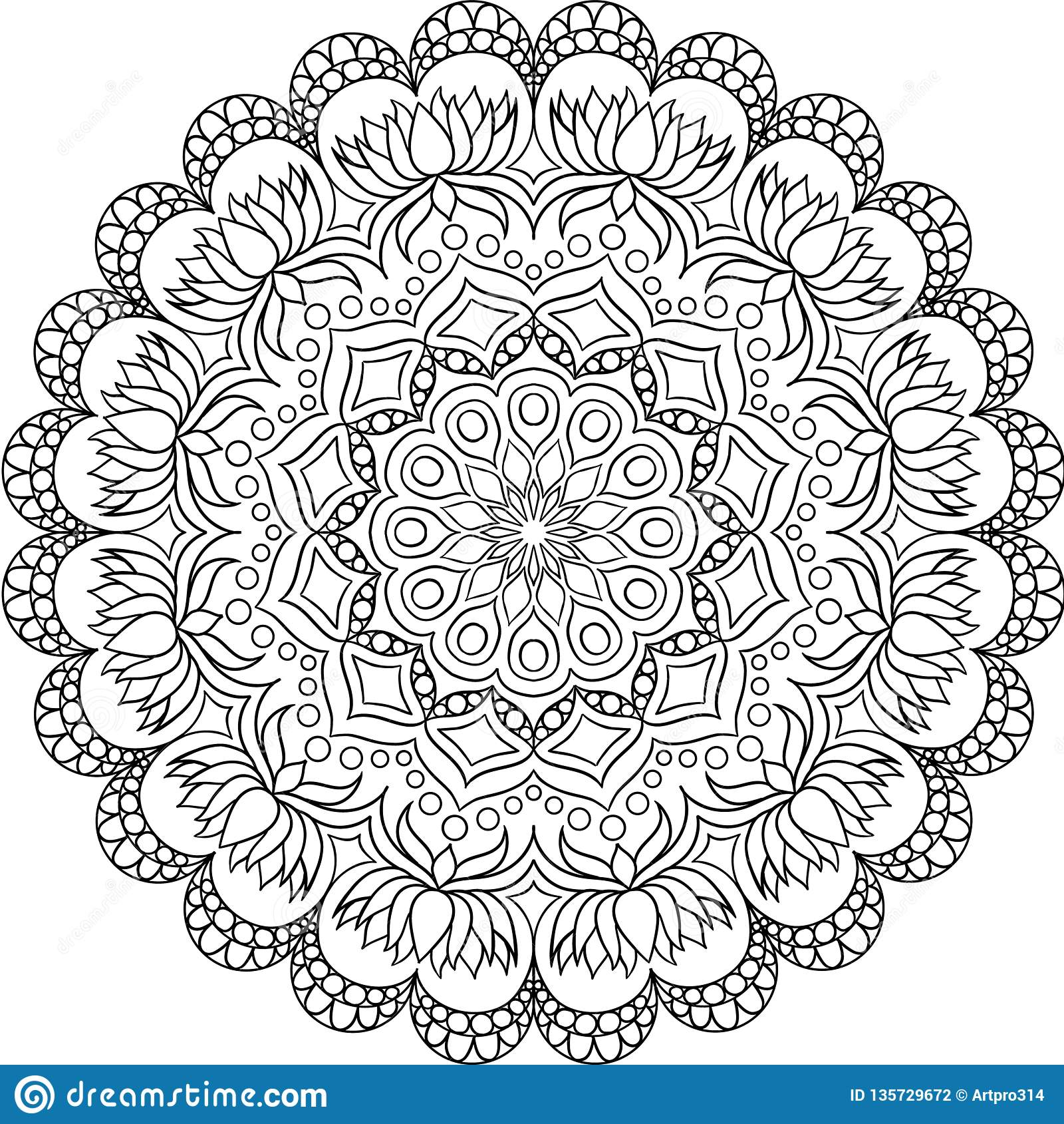 Κυκλικό σχέδιο με μορφή mandala για Henna, Mehndi, δερματοστιξία, διακόσμηση