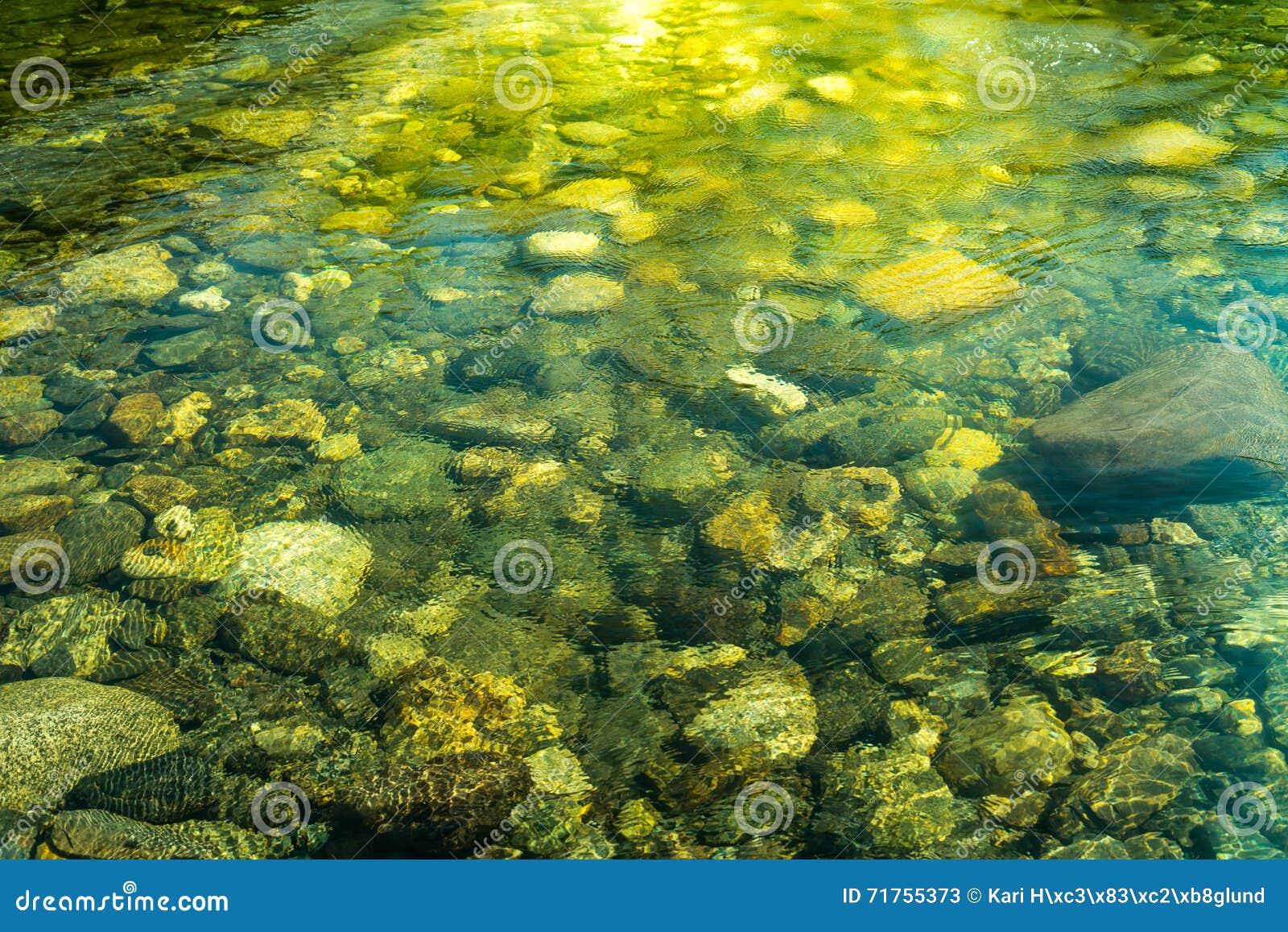 Κυματίζοντας νερό με την ηλιαχτίδα και πέτρες στο νερό