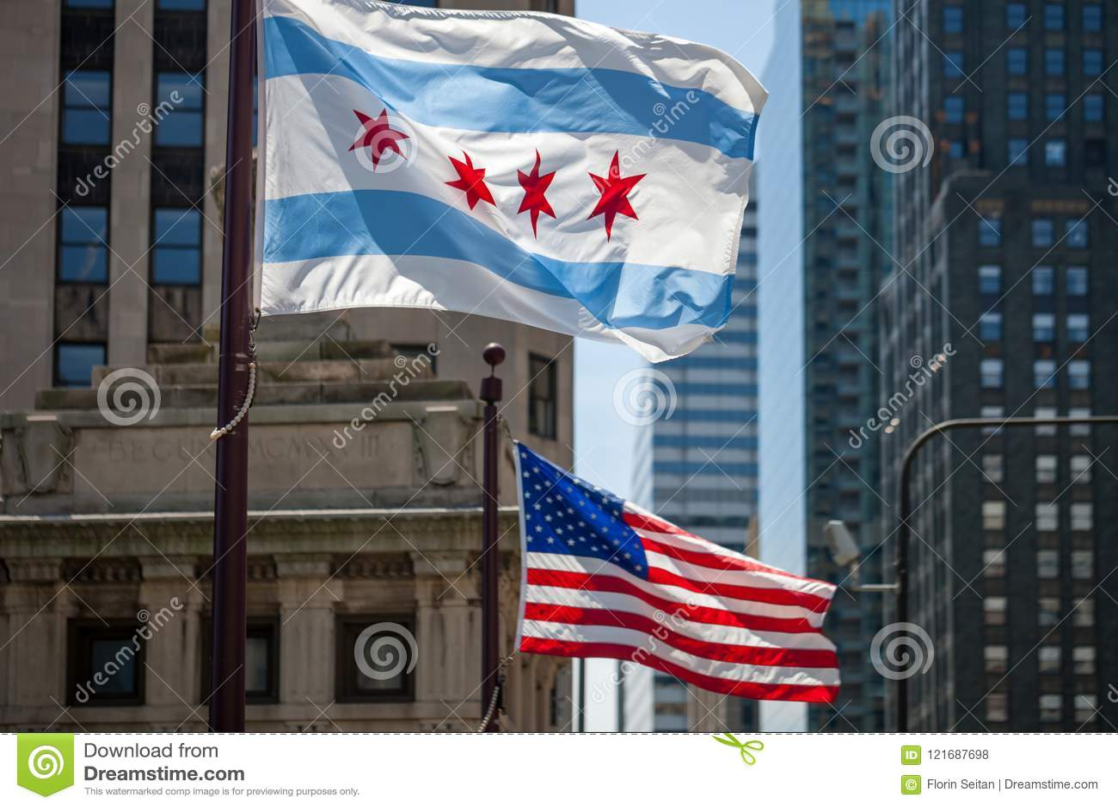 Κυματίζοντας σημαίες της πόλης του Σικάγου και Πολιτεία
