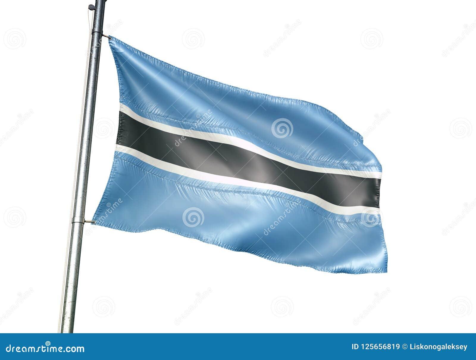Κυματισμός εθνικών σημαιών της Μποτσουάνα που απομονώνεται στην άσπρη ρεαλιστική τρισδιάστατη απεικόνιση υποβάθρου
