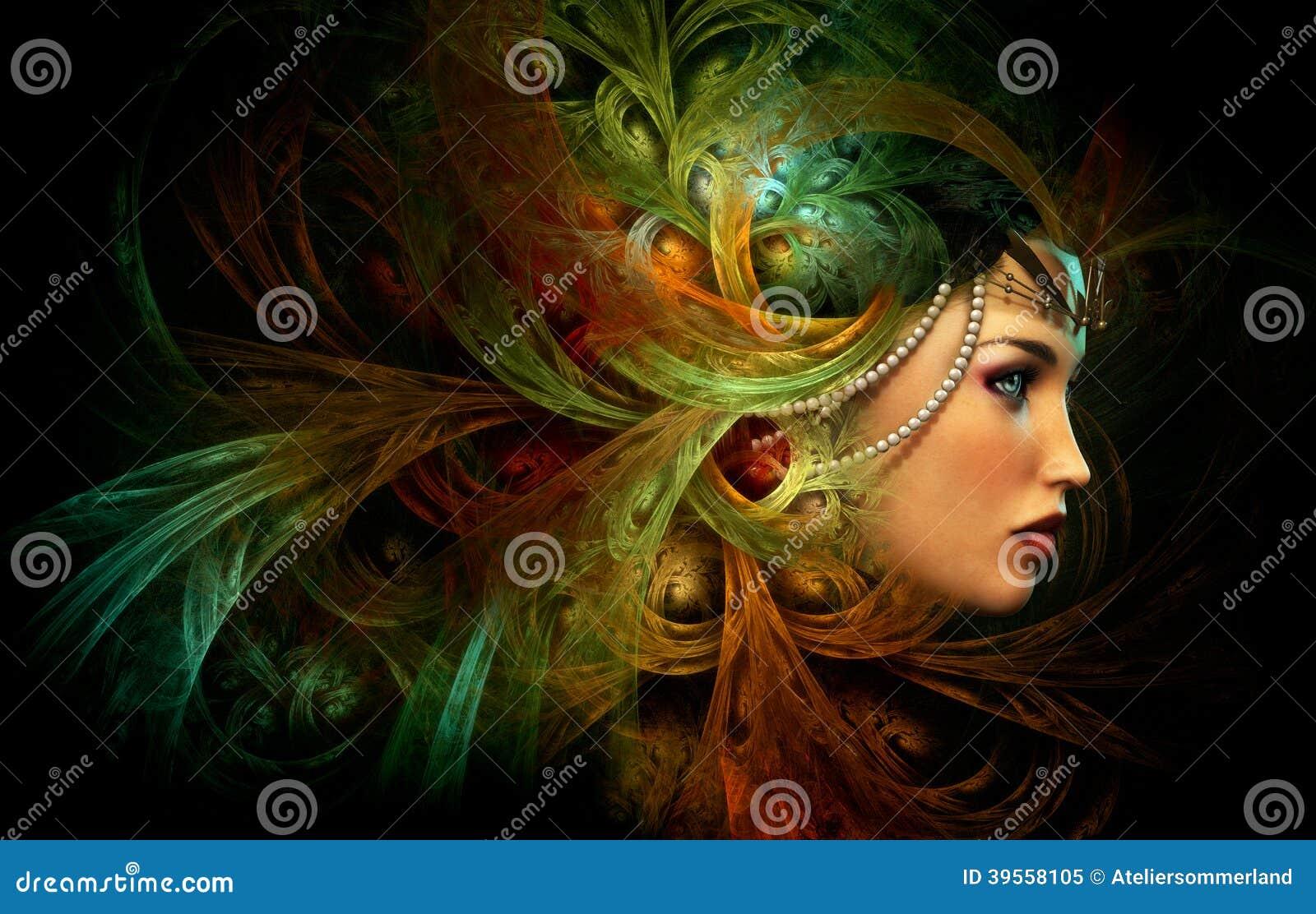 Κυρία με κομψά headdress, CG