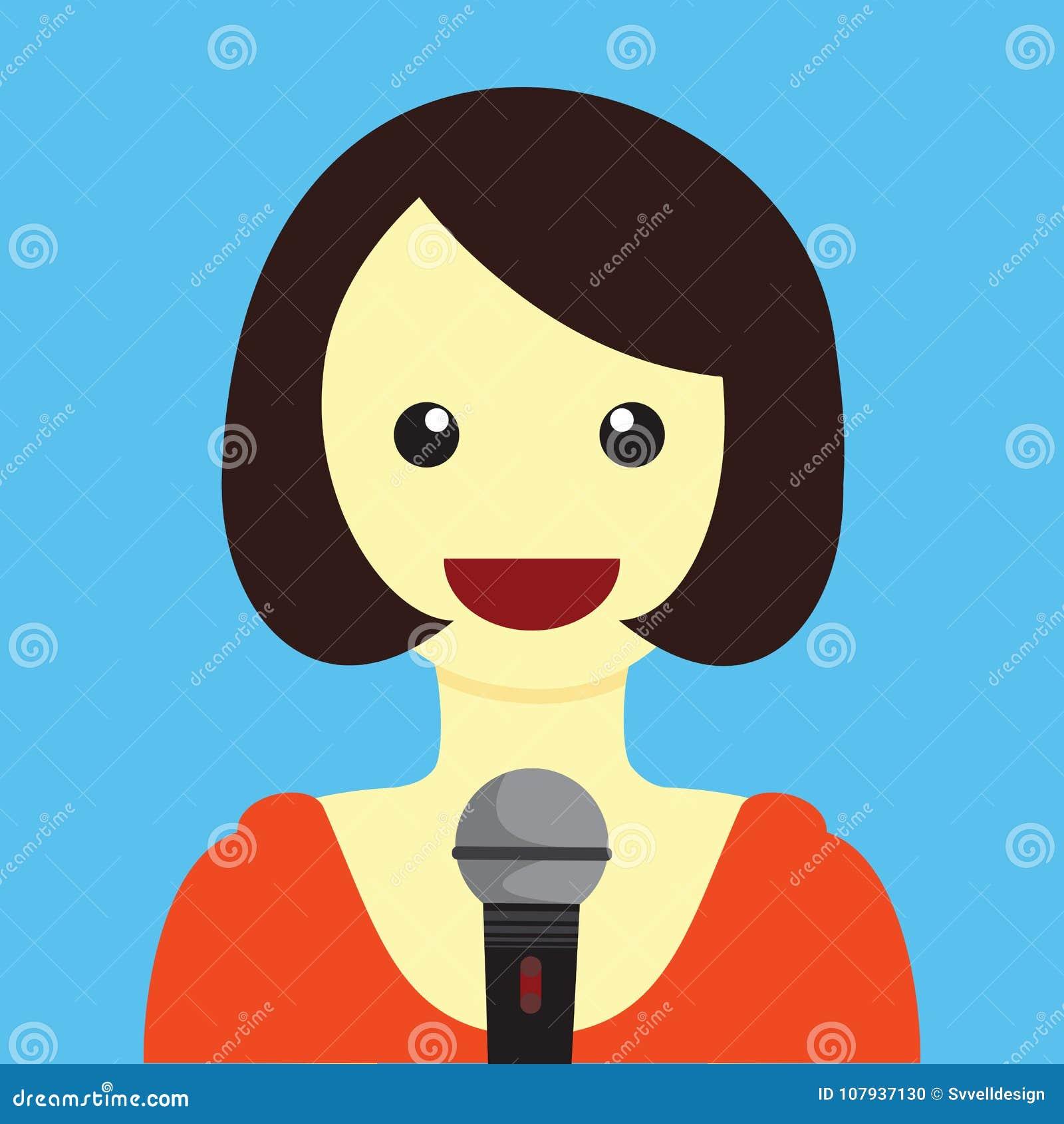 Κυρία Singing Cartoon Vector Illustration γραφική