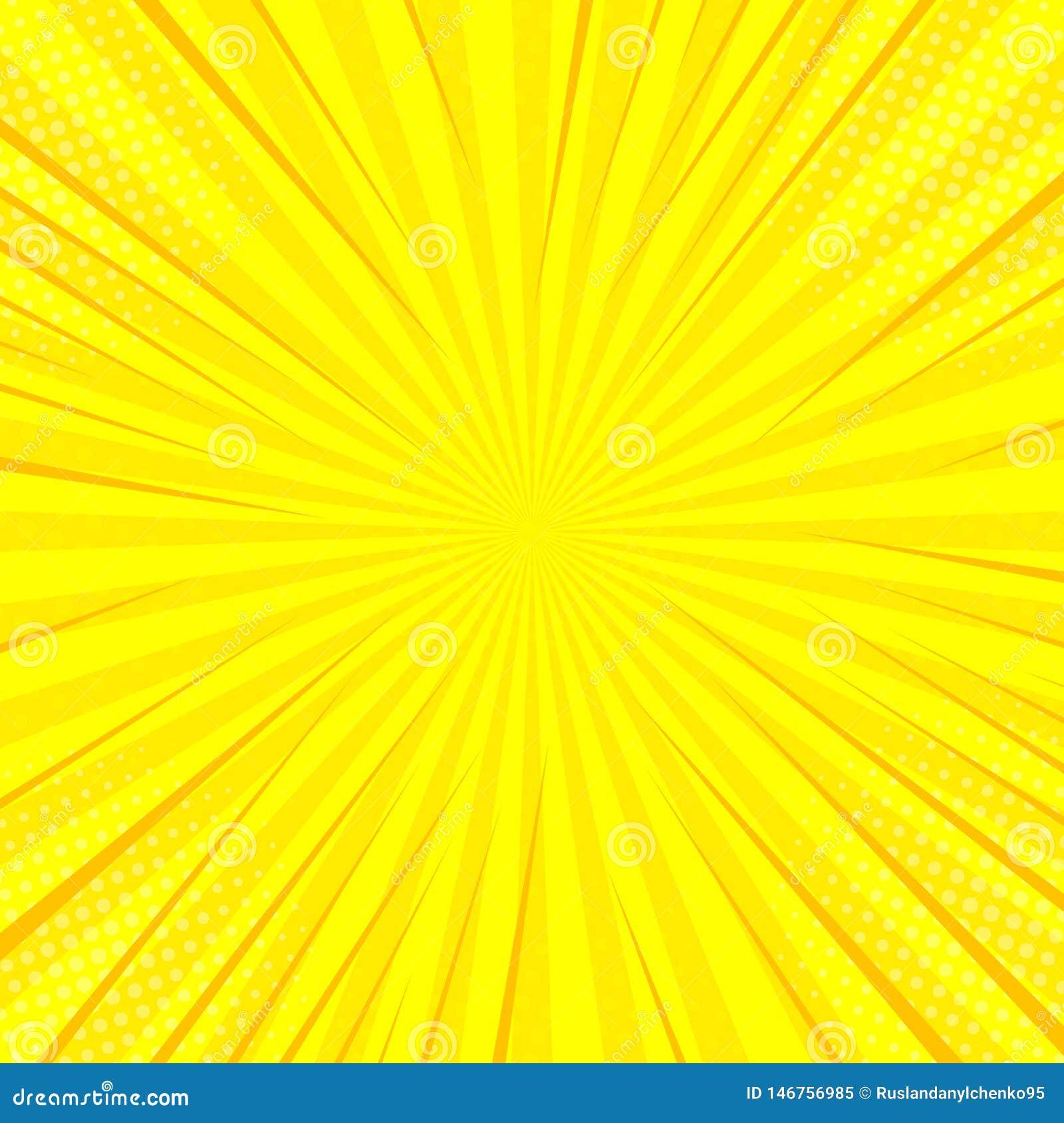 Κωμικό κίτρινο ήλιων ακτίνων υποβάθρου λαϊκό σχέδιο κιτς απεικόνισης τέχνης αναδρομικό