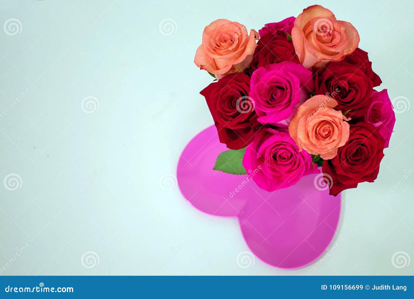Κόκκινα και ρόδινα τριαντάφυλλα στο φωτεινό ρόδινο διαμορφωμένο καρδιά πιάτο