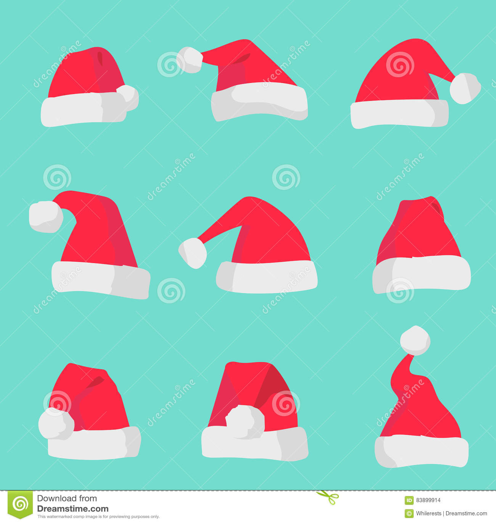 Κόκκινα καπέλα Άγιου Βασίλη που απομονώνονται στο ζωηρόχρωμο υπόβαθρο Σύμβολο του συνόλου καπέλων santa διακοπών Χριστουγέννων