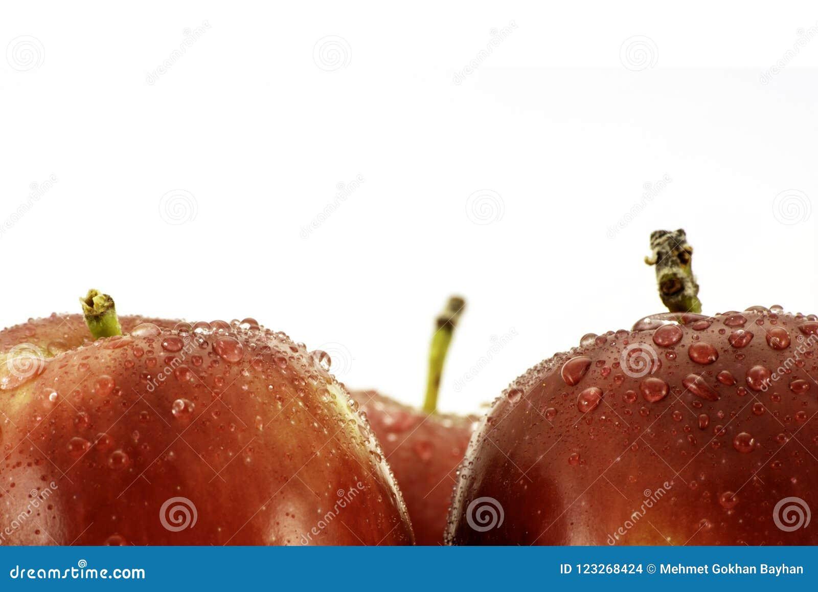 Κόκκινα μήλα με την κινηματογράφηση σε πρώτο πλάνο σταγονίδιων νερού που βλασταίνεται στο λευκό με το διάστημα αντιγράφων για το