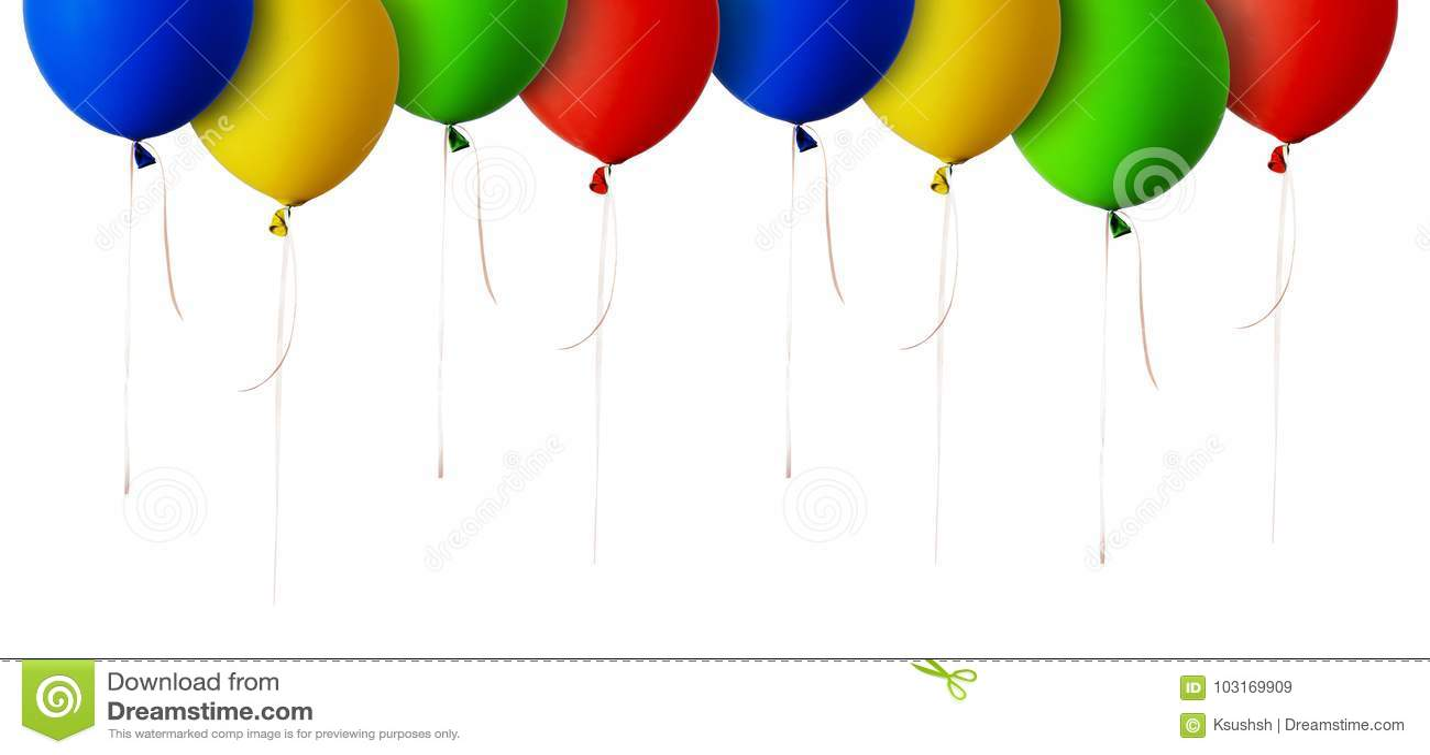 Κόκκινα, μπλε, πράσινα και κίτρινα σύνορα μπαλονιών