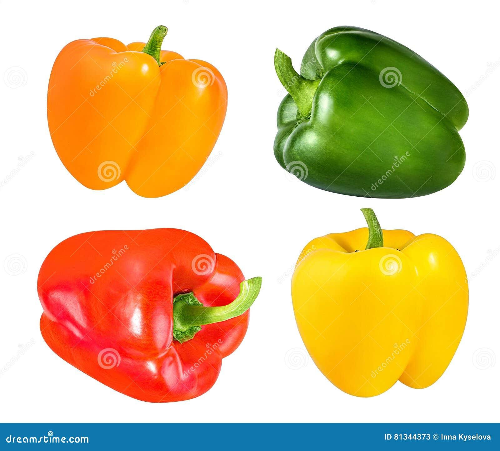 Κόκκινα, πορτοκαλιά, πράσινα και κίτρινα πιπέρια κουδουνιών που απομονώνονται στο λευκό