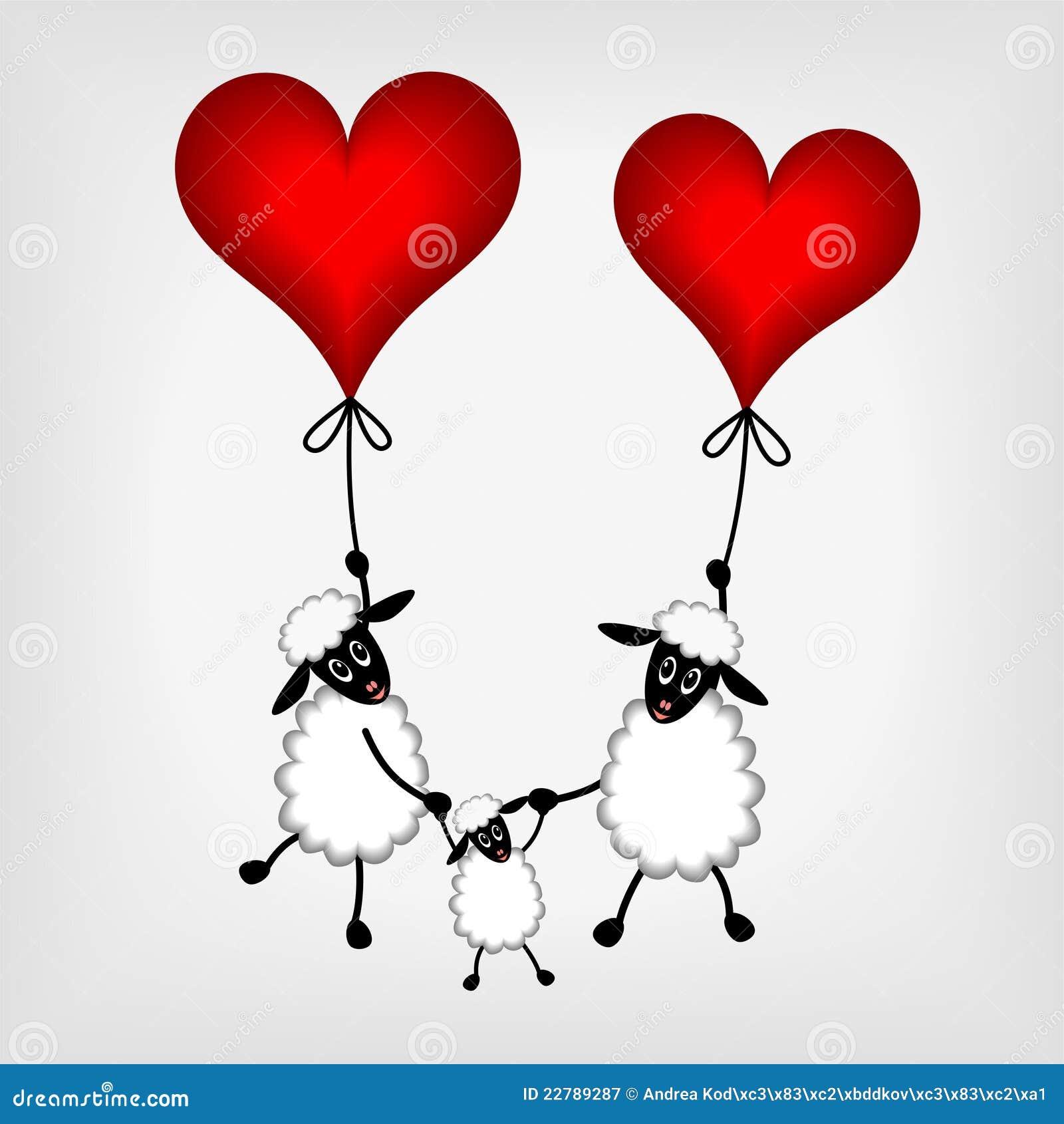 κόκκινα πρόβατα δύο αρνιών καρδιών μπαλονιών