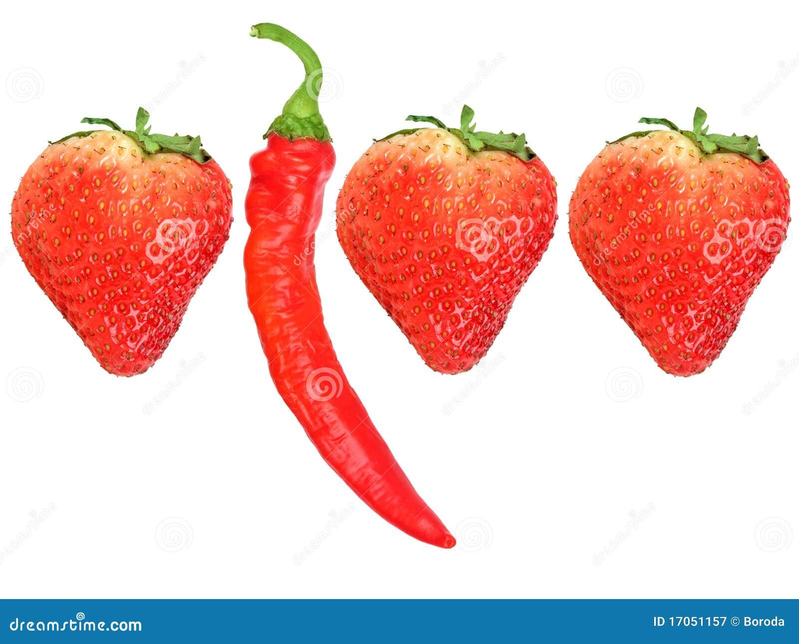 κόκκινα strawberryes πιπεριών τσίλι φ&rho