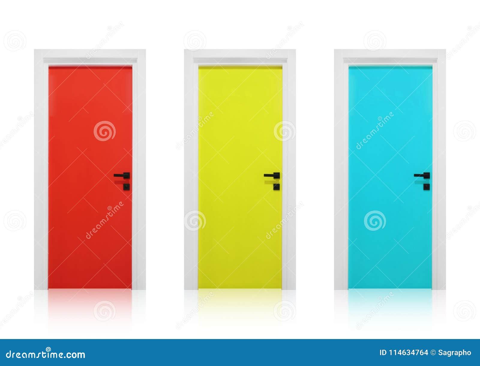 Κόκκινες, κίτρινες και κυανές πόρτες σε ένα άσπρο υπόβαθρο