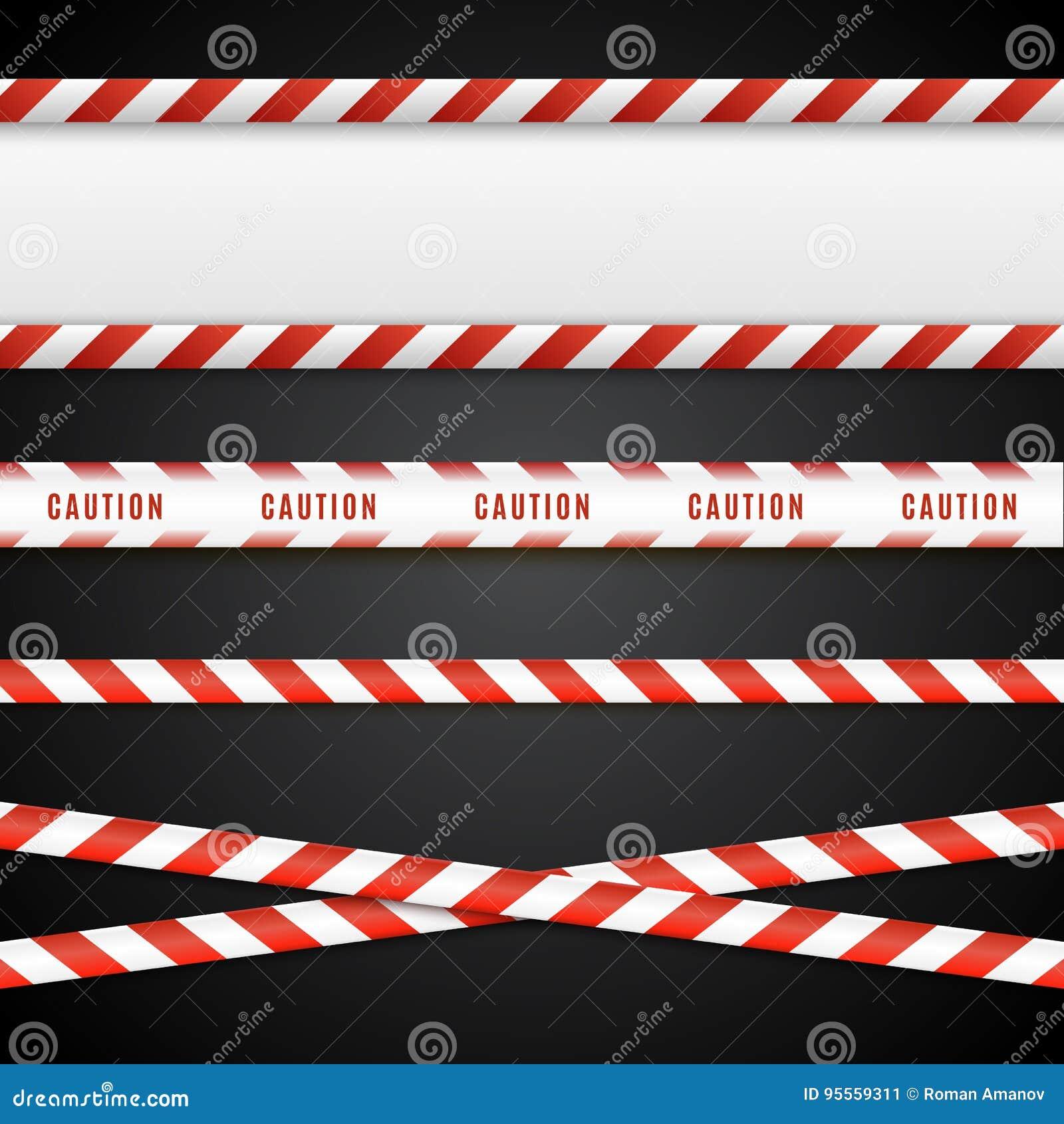 Κόκκινες και άσπρες ταινίες κινδύνου Γραμμές προσοχής που απομονώνονται επίσης corel σύρετε το διάνυσμα απεικόνισης