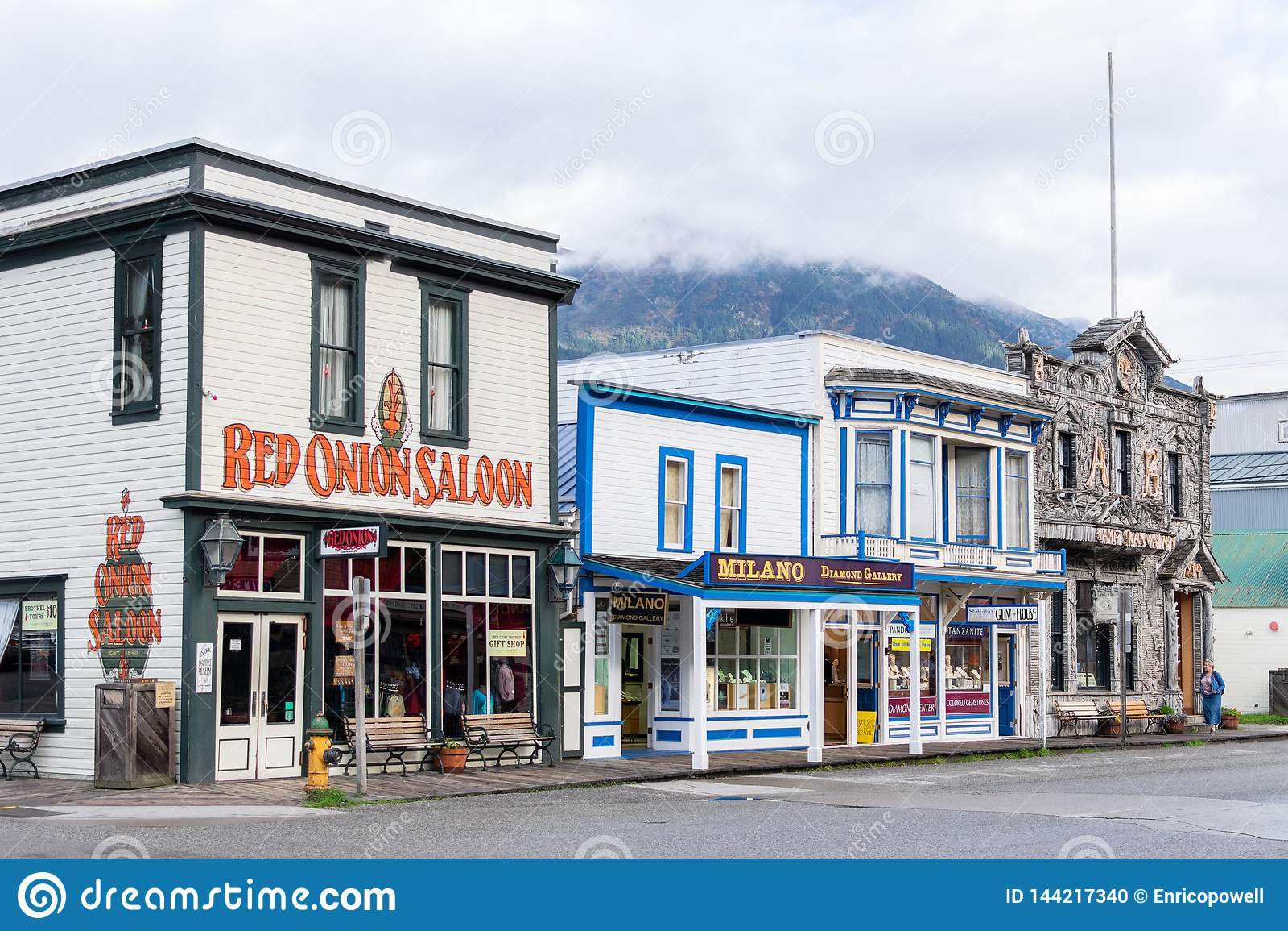 Κόκκινη αίθουσα κρεμμυδιών, στρατόπεδο Skagway αριθ. καταστήματα 1 και κοσμημάτων σε Skagway Αλάσκα