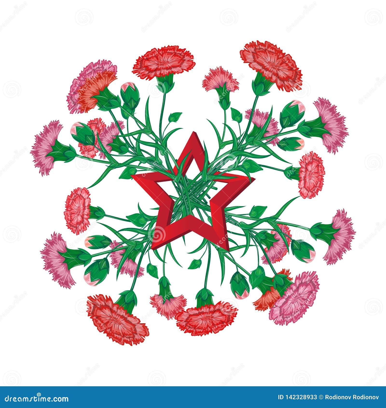 Κόκκινη ανθοδέσμη γαρίφαλων με την κορδέλλα Αγίου George και σοβιετικό αστέρι την 9η Μαΐου στο ρωσικό χαιρετισμό εορτασμού εθνική