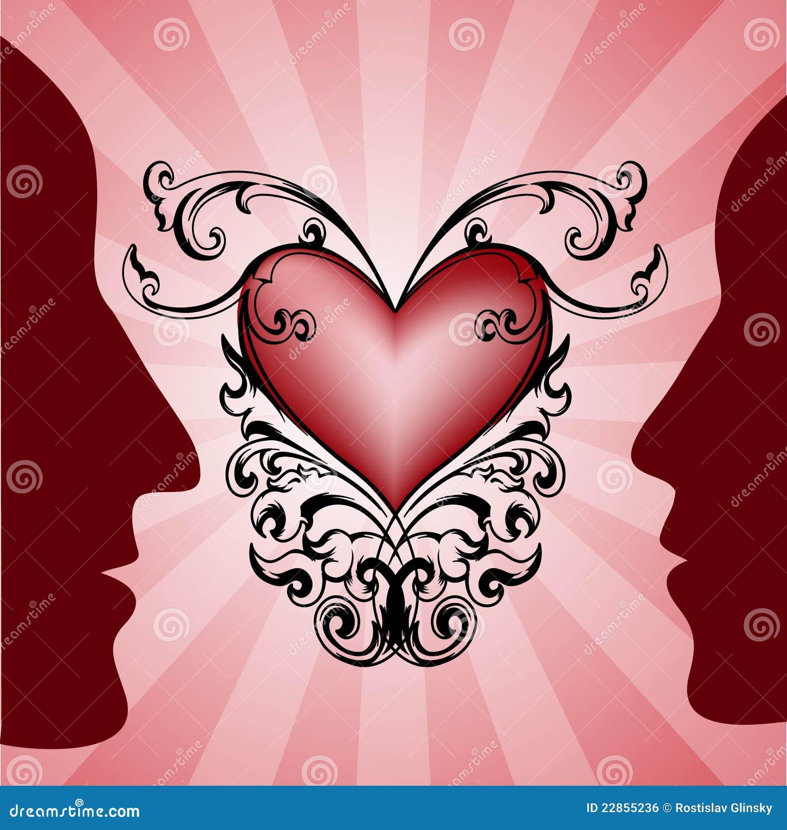 κόκκινη γυναίκα σχεδιαγραμμάτων ανδρών καρδιών ανασκόπησης