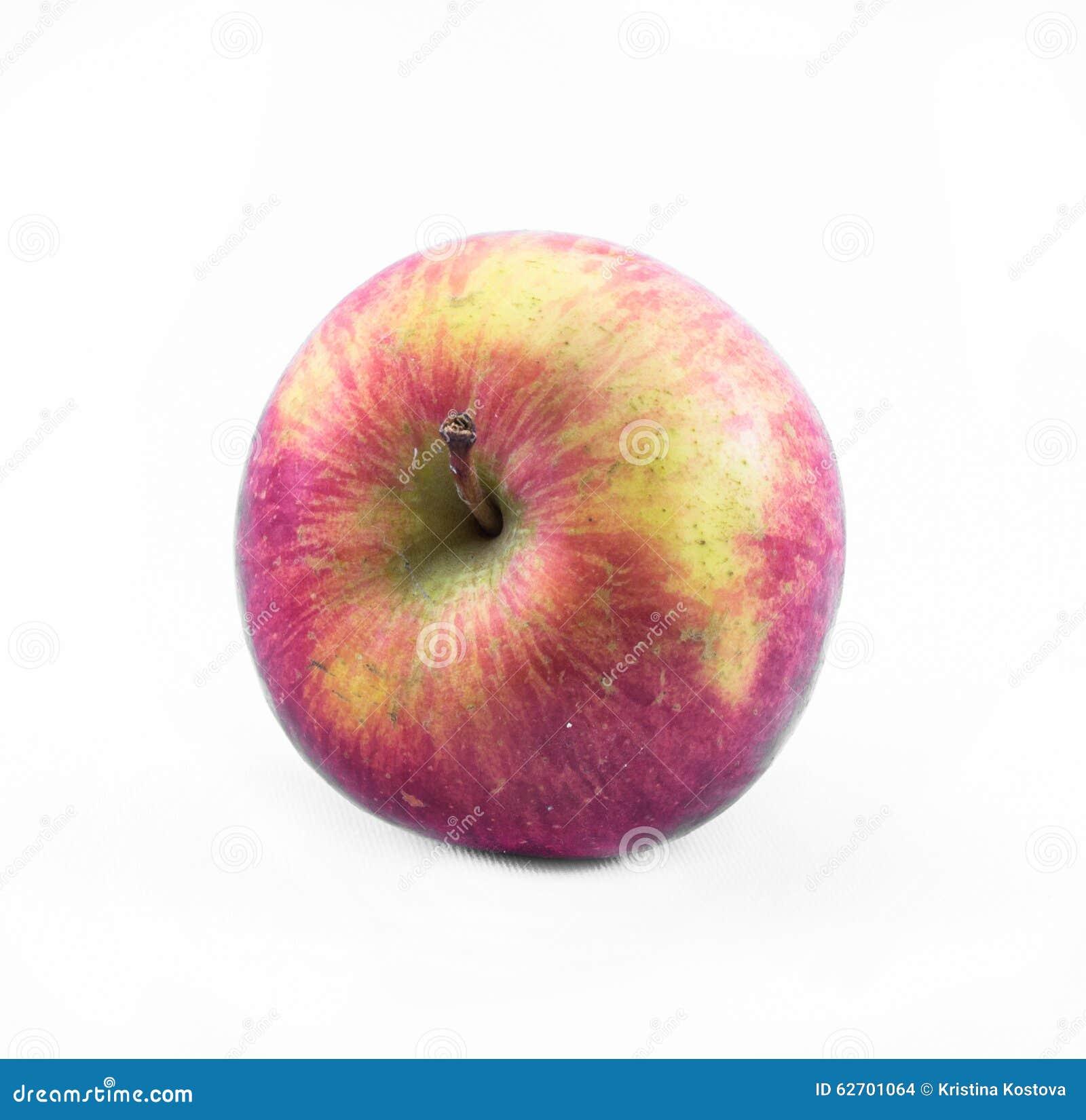 Κόκκινη - κίτρινο μήλο σε ένα άσπρο υπόβαθρο - πλάγια όψη