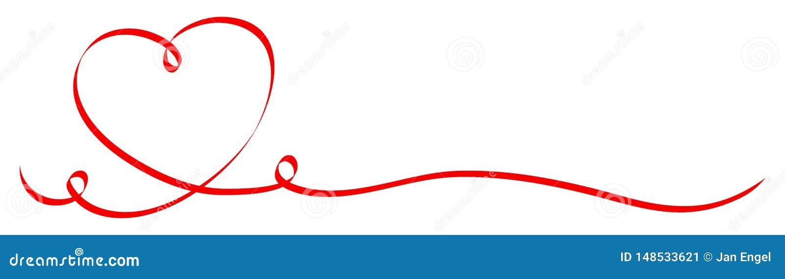 Κόκκινη καρδιά καλλιγραφίας με την κορδέλλα δύο στροβίλων