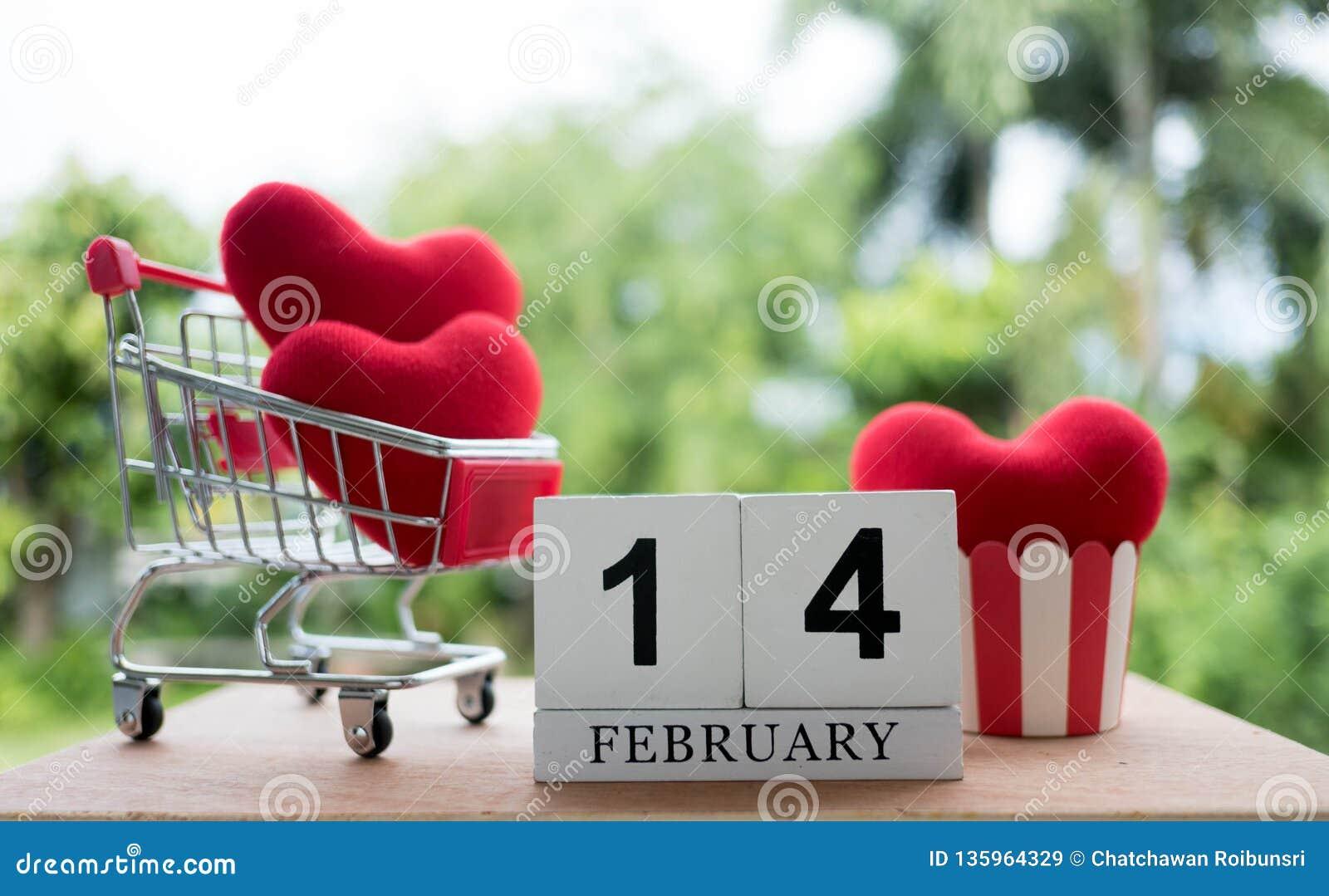 Κόκκινη καρδιά σε ένα κάρρο αγορών στις 14 Φεβρουαρίου διάνυσμα βαλεντίνων αγάπης απεικόνισης ημέρας ζευγών
