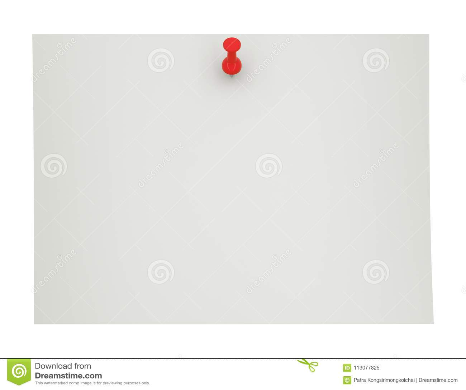 Κόκκινη καρφίτσα ώθησης, πινέζα σε κενό χαρτί, τρισδιάστατη απεικόνιση