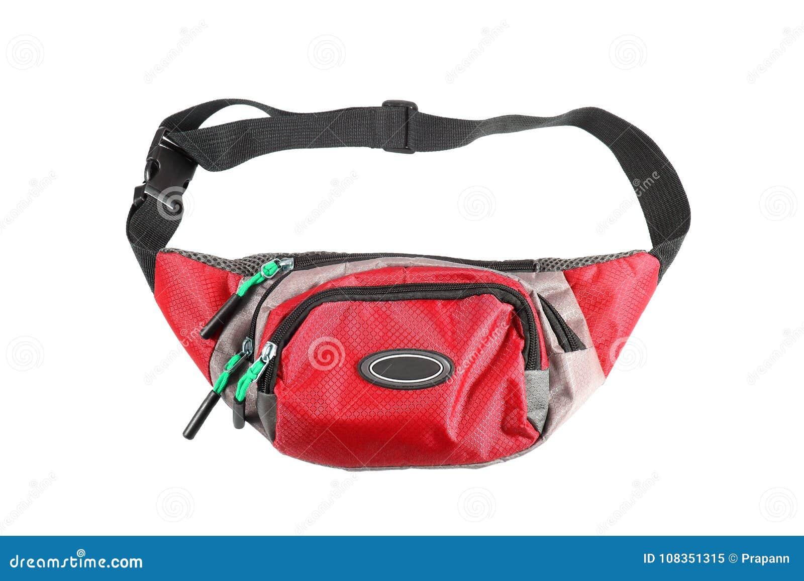 Κόκκινη σακούλα μέσης που απομονώνεται στο άσπρο υπόβαθρο