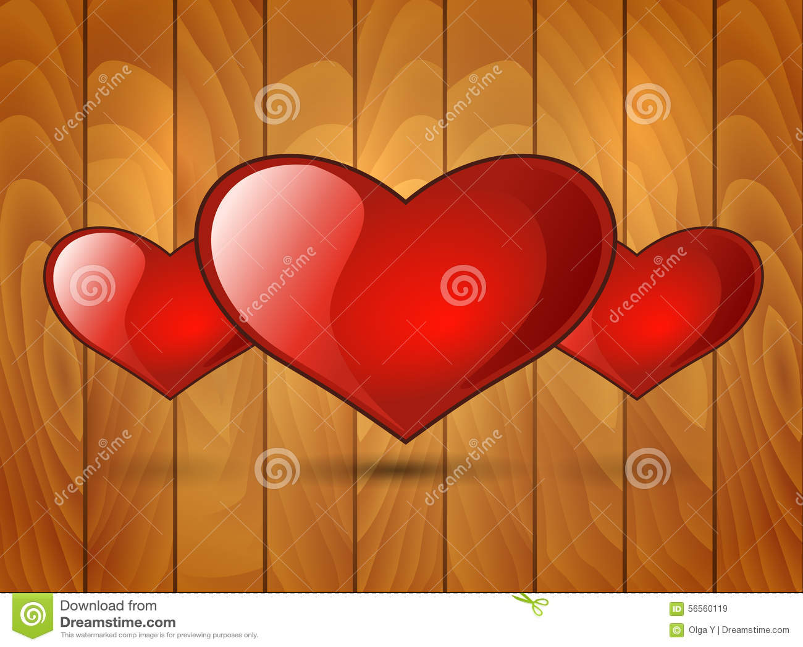 Download Κόκκινη στιλπνή καρδιά τρία σε ένα ξύλινο υπόβαθρο Διανυσματική απεικόνιση - εικονογραφία από αδελφών, διάνυσμα: 56560119