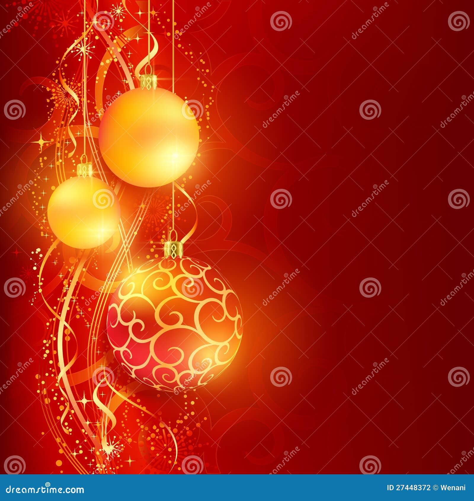 Κόκκινη χρυσή ανασκόπηση Χριστουγέννων με τα μπιχλιμπίδια
