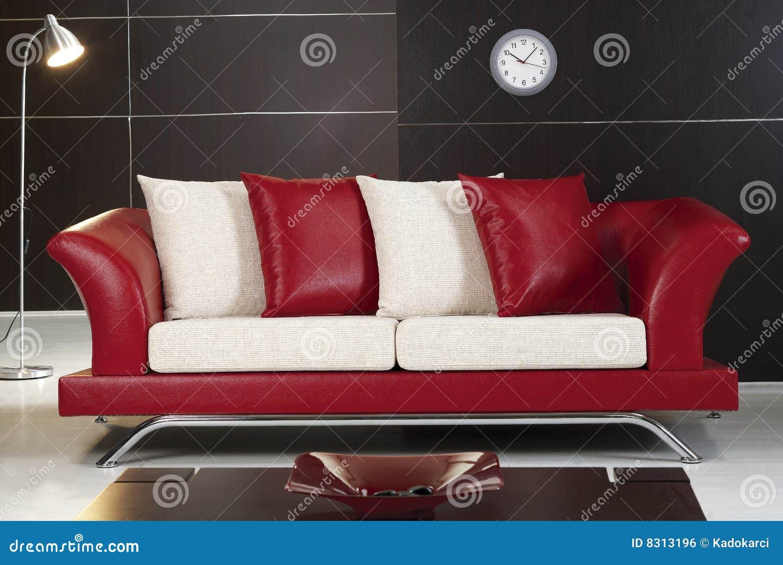 κόκκινος καναπές δέρματο&si