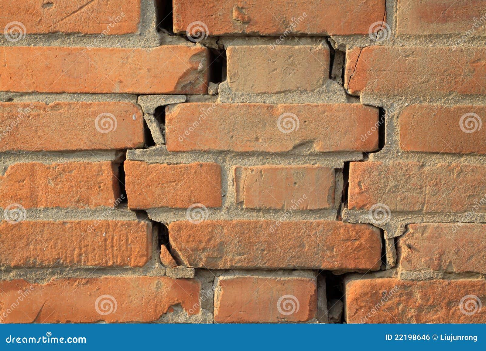 κόκκινος τοίχος ρωγμών τ&omicron
