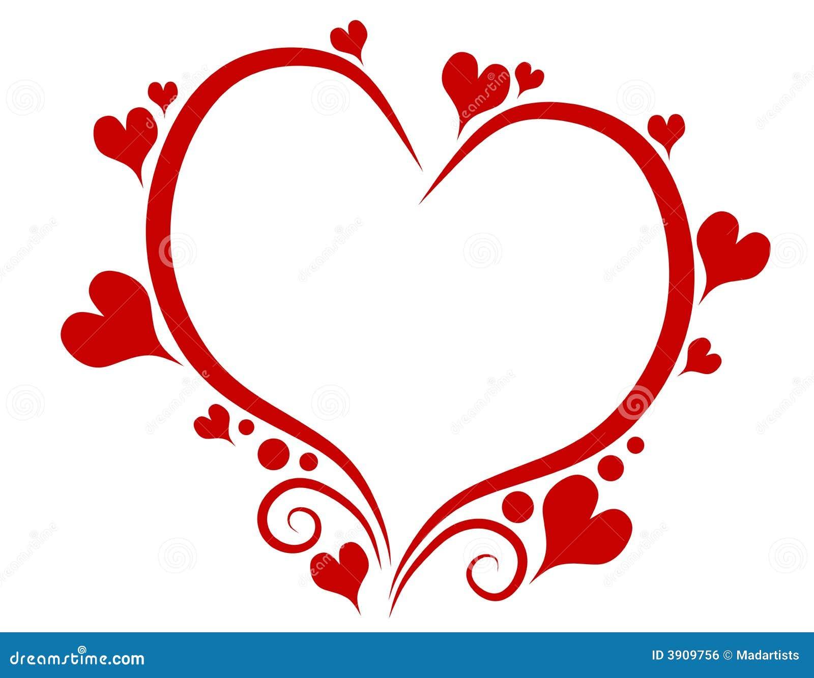 κόκκινος s καρδιών ημέρας διακοσμητικός βαλεντίνος περιγραμμάτων