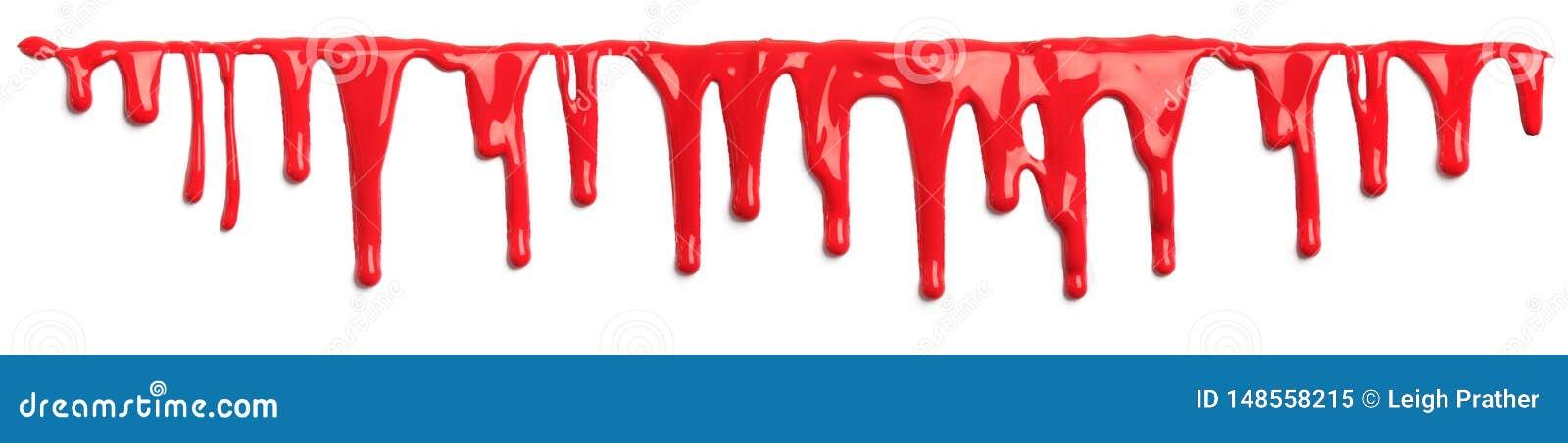 Κόκκινο αίμα όπως το στάλαγμα χρωμάτων που απομονώνεται