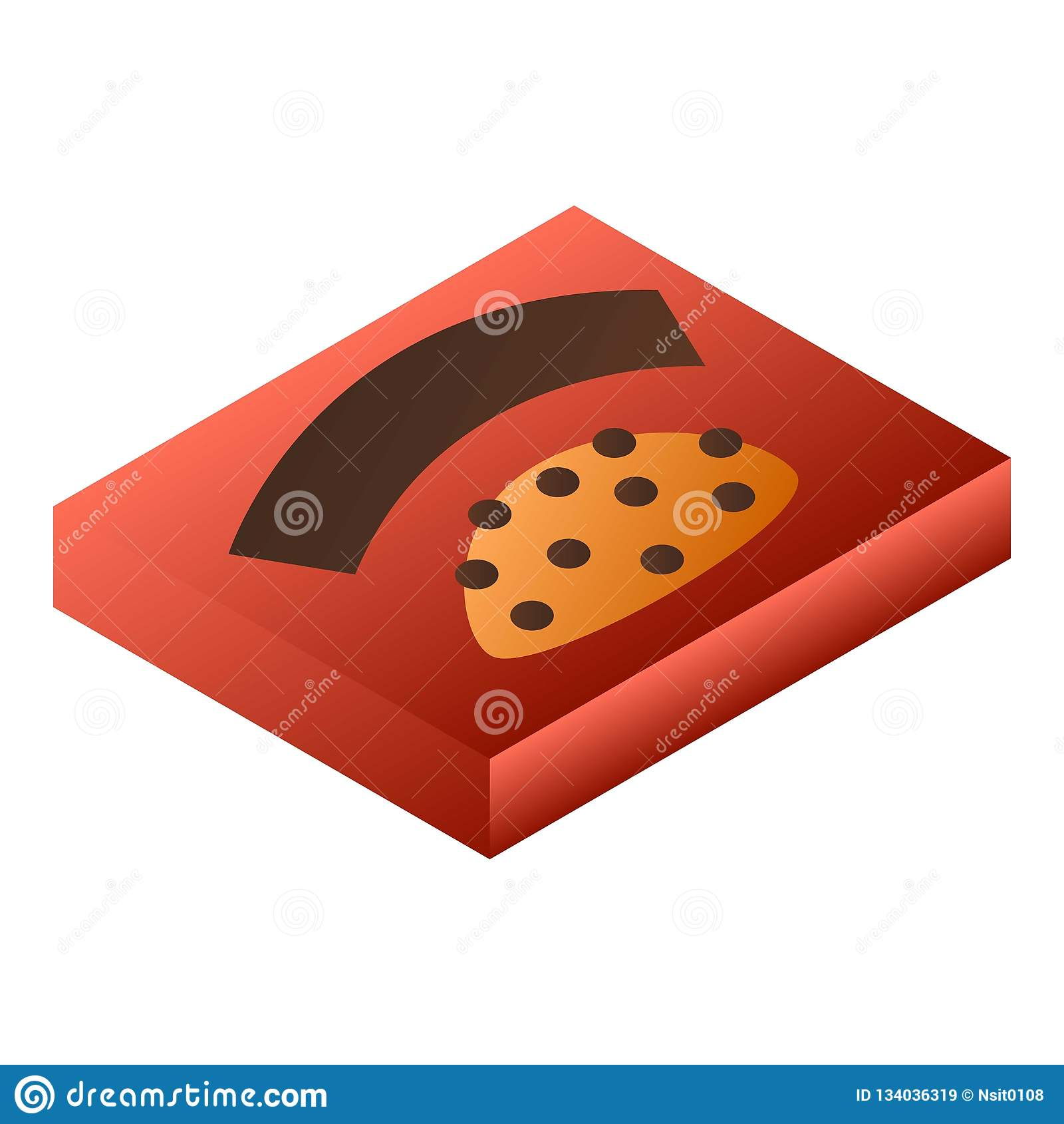 Κόκκινο εικονίδιο κιβωτίων σοκολάτας, isometric ύφος