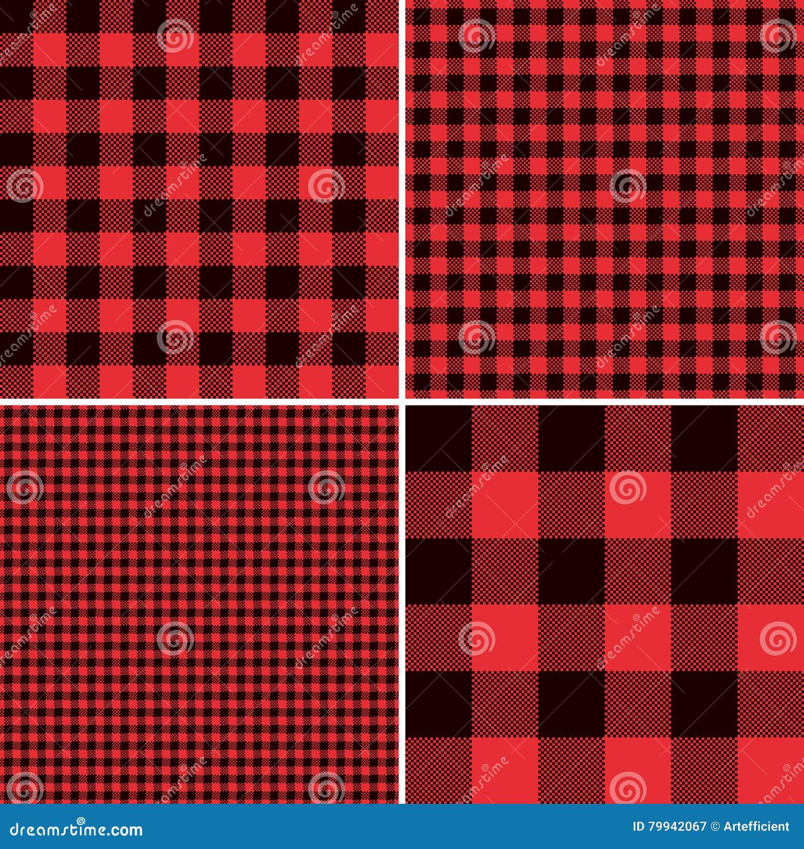 Κόκκινο καρό ελέγχου Buffalo υλοτόμων και τετραγωνικά Gingham εικονοκυττάρου σχέδια